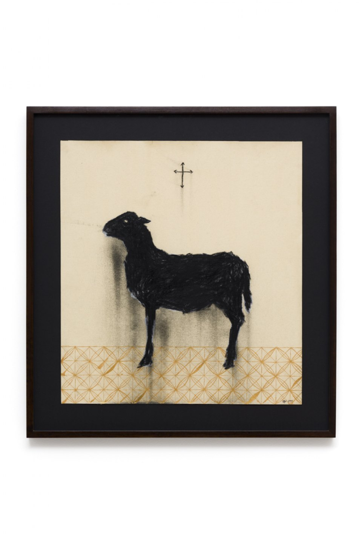 Antônio Obá,<em>Agnus Dei,</em>2016,charcoal and nankin on canvas,66 × 55 cm - Mendes Wood DM