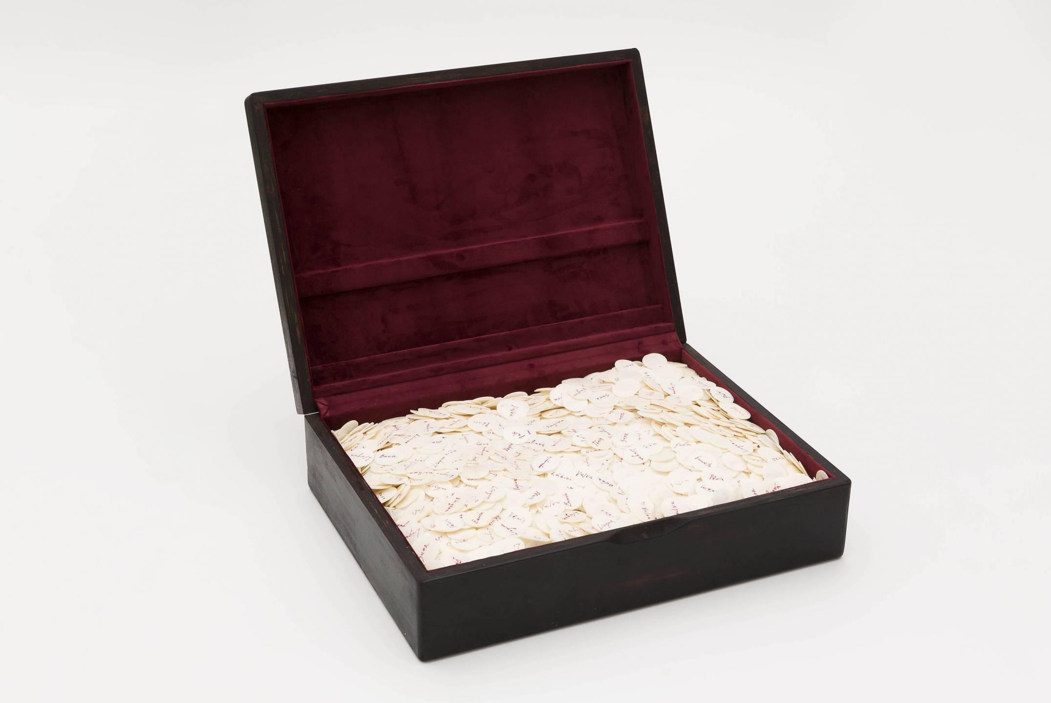 Antônio Obá,<em>Et Verbum</em>, 2011,wooden box on wafers and food coloring,40 × 54 × 14 cm - Mendes Wood DM