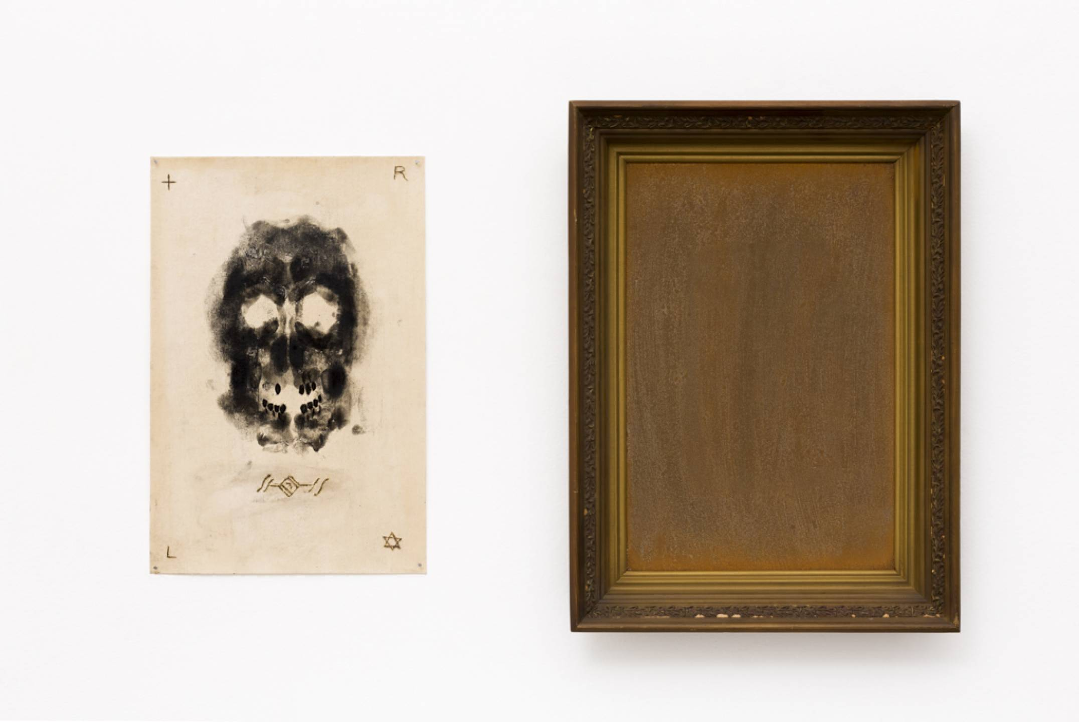 Antônio Obá, <em>Vanitas, from Ambiente com Espelhos series</em>, 2017, coal and pyrography on cotton canvas, antique wooden frame and brushed steel, 57 × 80 × 7 cm - Mendes Wood DM