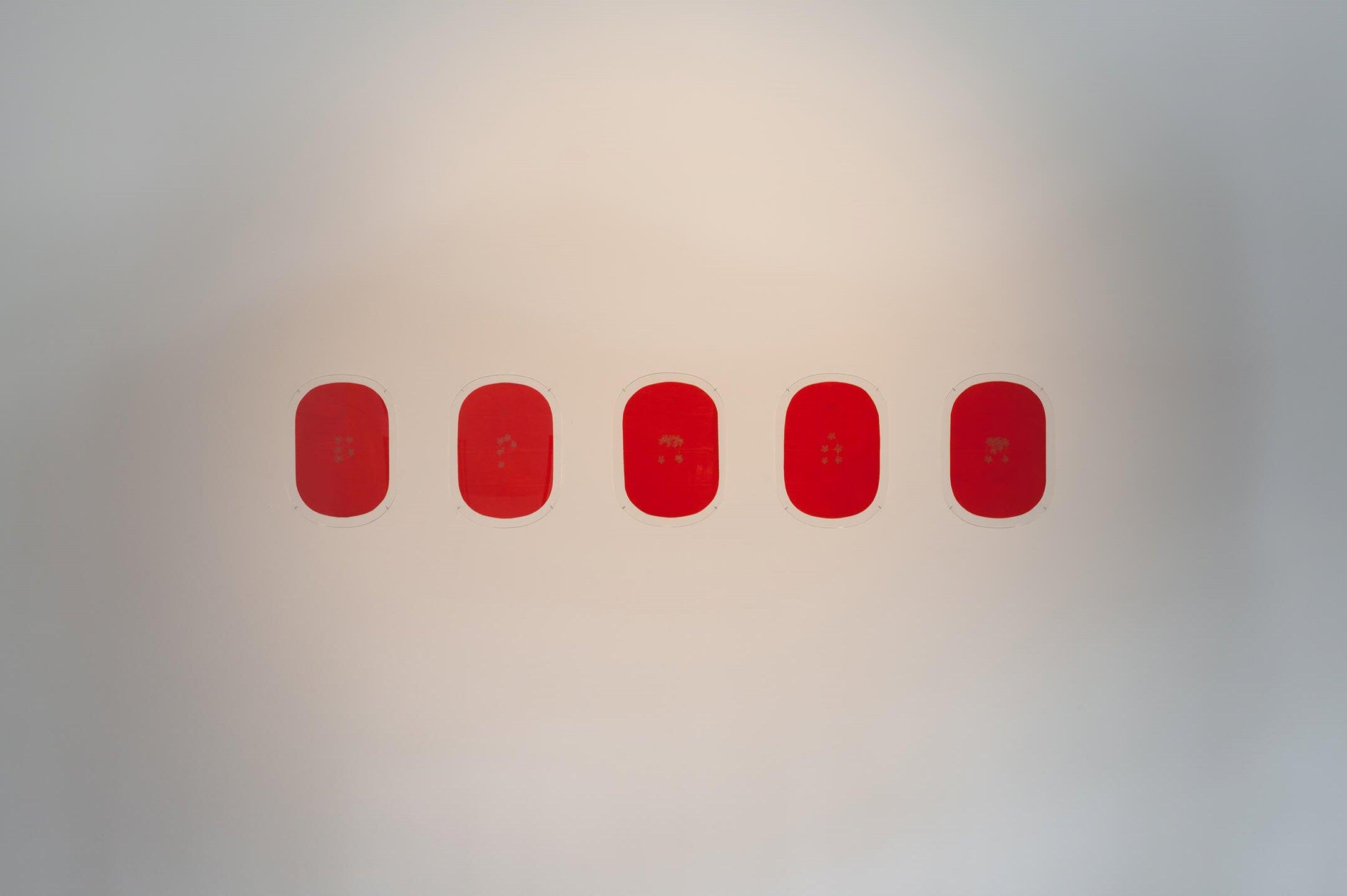 James Lee Byars<em>, 5PMAM,</em>1994,golden pencil on red japanese paper,38 × 27 cm (each) - Mendes Wood DM