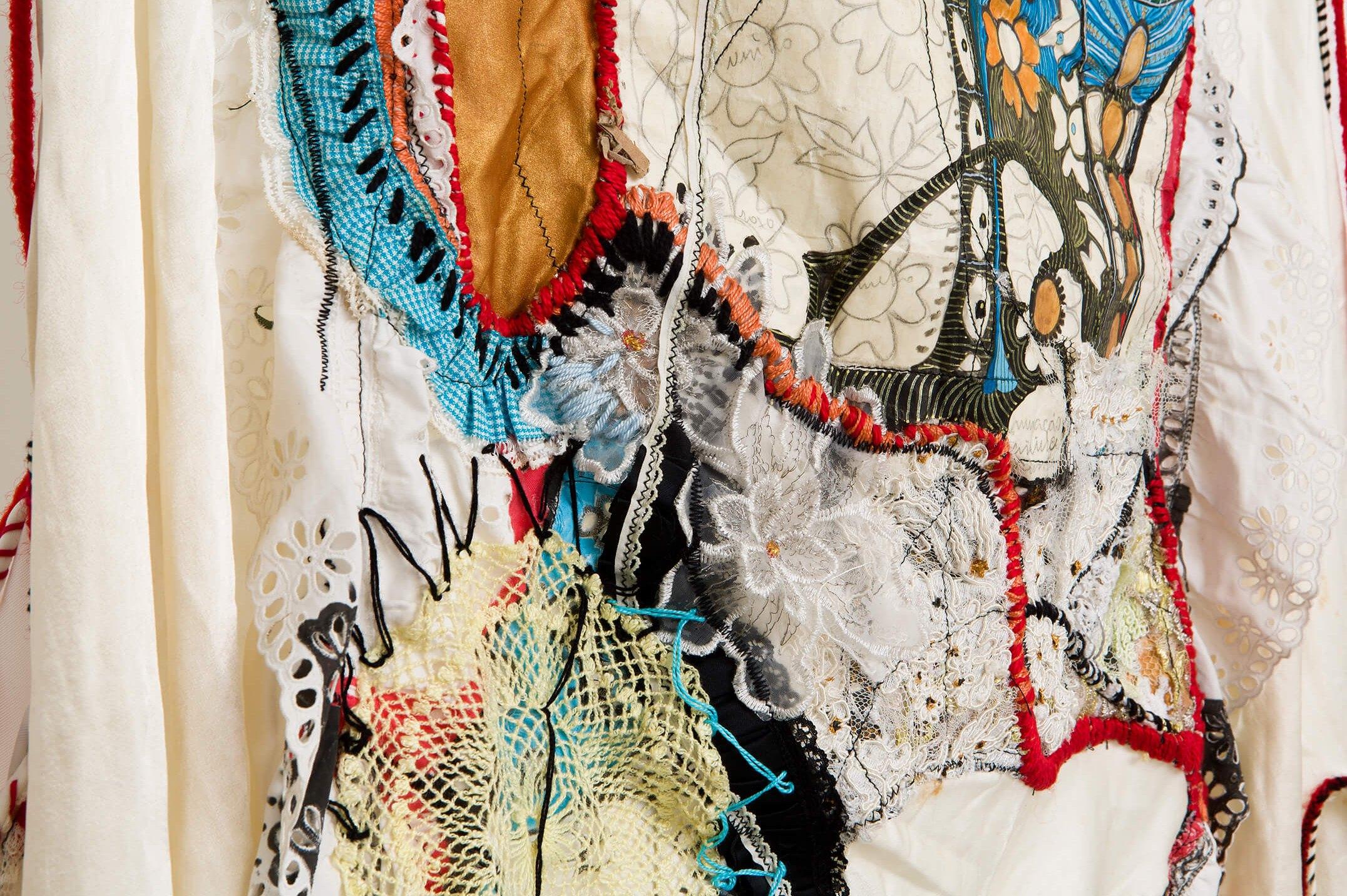 Sonia Gomes,<em>Tecendo Amanhã I</em>, 2016,stitching, bindings, different fabrics and laces,193 × 61 × 12 cm - Mendes Wood DM