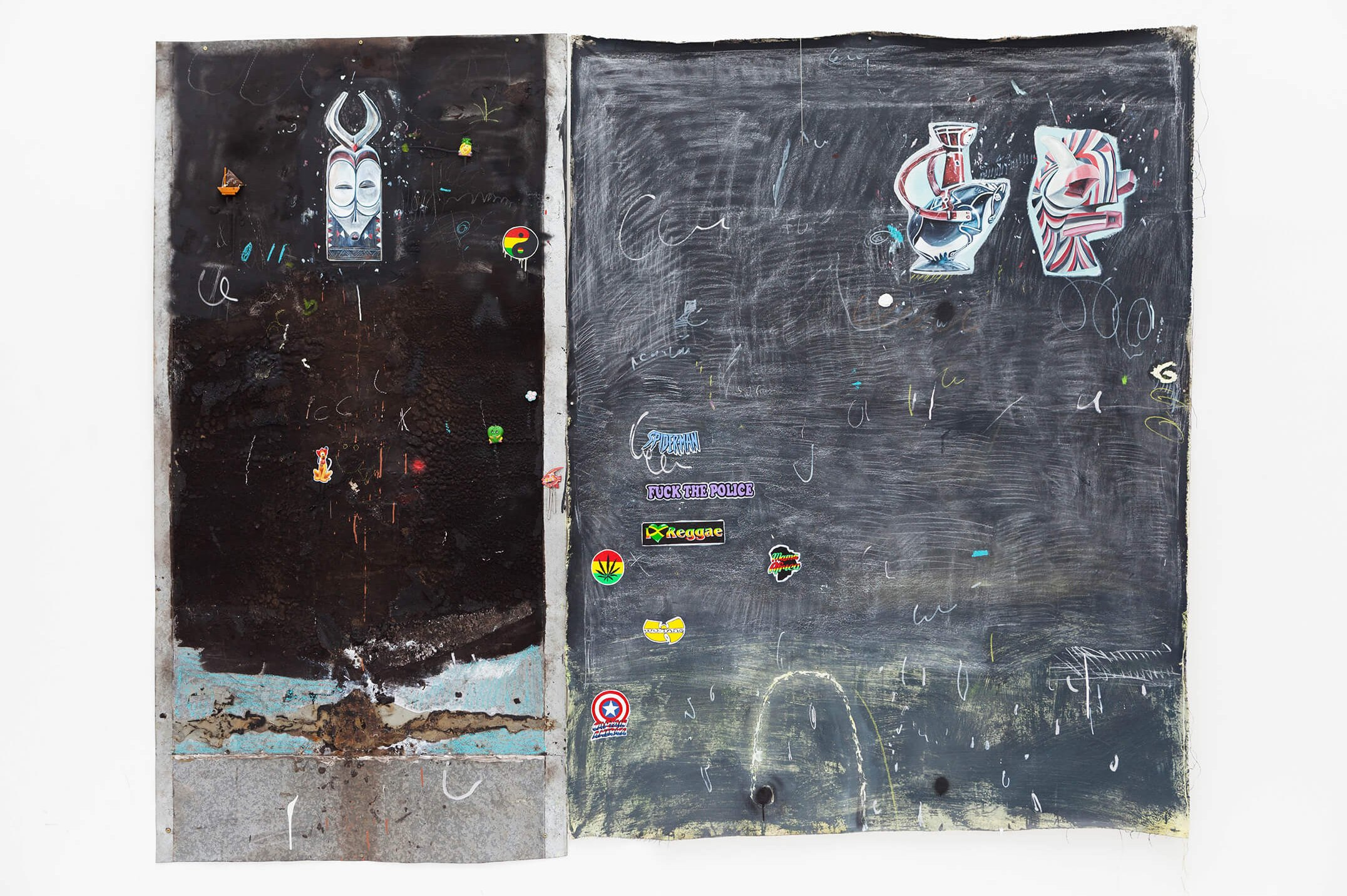 Paulo Nimer Pjota, <em>Democratic Republic of the Congo part. II,</em> 2015, acrylic, oil, pencil, pen, charcoal and pastel on canvas and iron plate, 200 × 250 cm - Mendes Wood DM