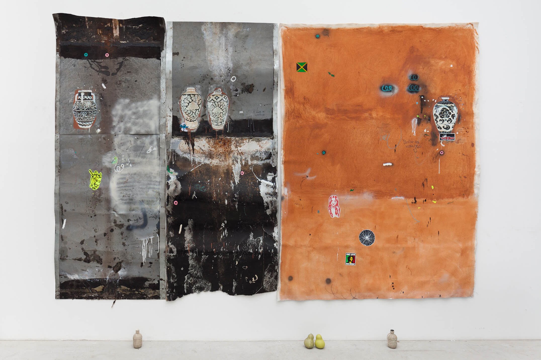 Paulo Nimer Pjota, <em>rammed earth facade part. I, </em>2015<em>, </em>gunpowder,<em> </em>acrilyc, oil, pencil, pen, charcoal, pastel and pigment on canvas and iron plate and resin objects, 265 × 378 × 13 cm - Mendes Wood DM
