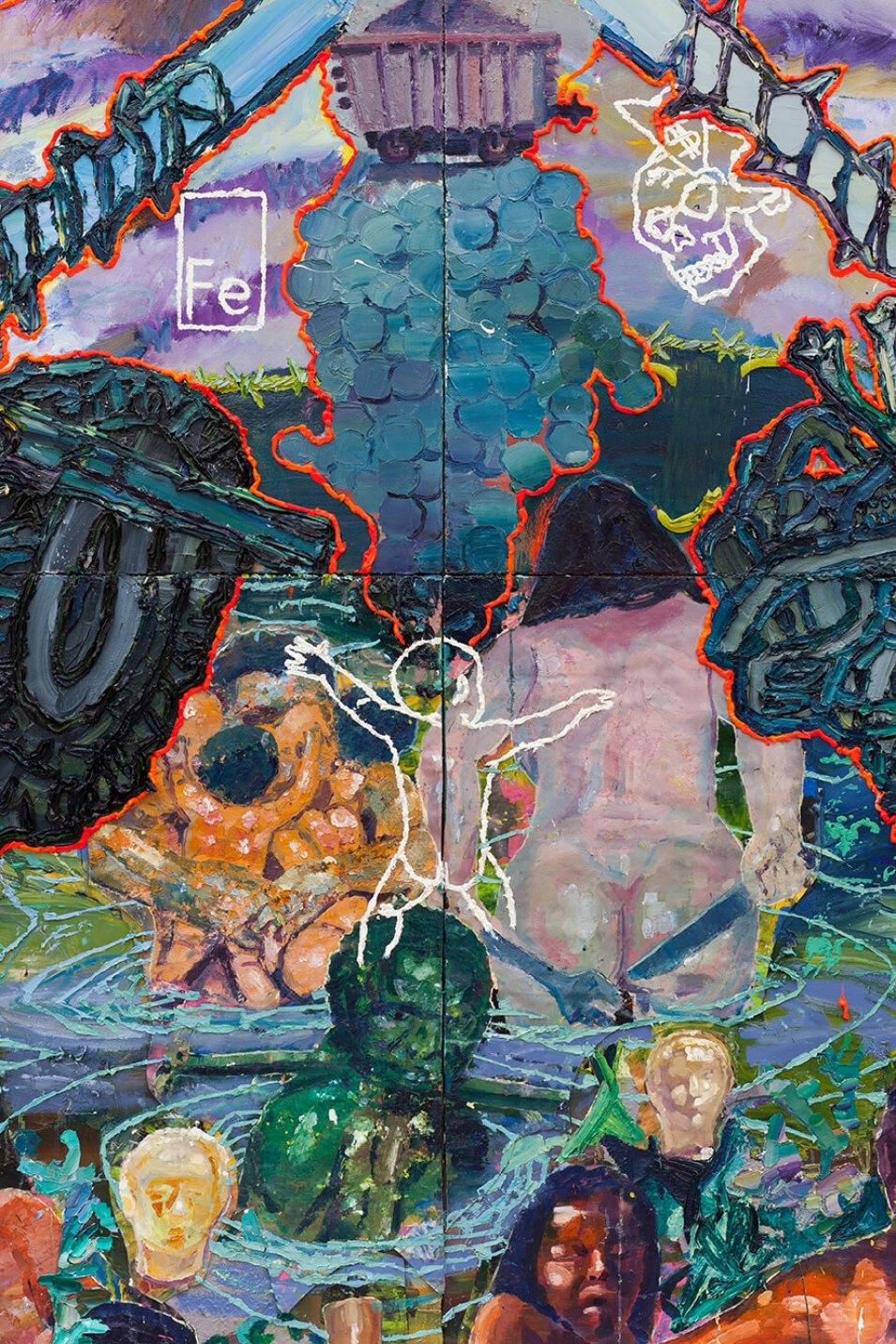 """Thiago Martins de Melo,<em>O asssalto ao edílio de Pindorama pelas brocas do buraco que """"NÃO VALE"""" a morte</em>,2014,oil on canvas and polyester and polyurethane resin,298 × 360 cm - Mendes Wood DM"""