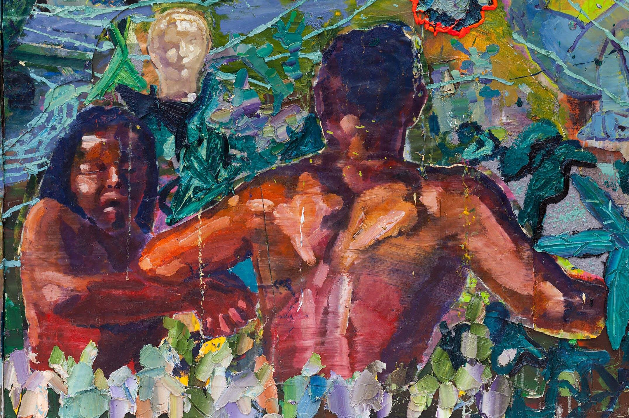 """Thiago Martins de Melo,&nbsp;<em>O asssalto ao edílio de Pindorama pelas brocas do buraco que """"NÃO VALE"""" a morte</em>,&nbsp;2014,&nbsp;oil on canvas and polyester and polyurethane resin,&nbsp;298 × 360 cm - Mendes Wood DM"""