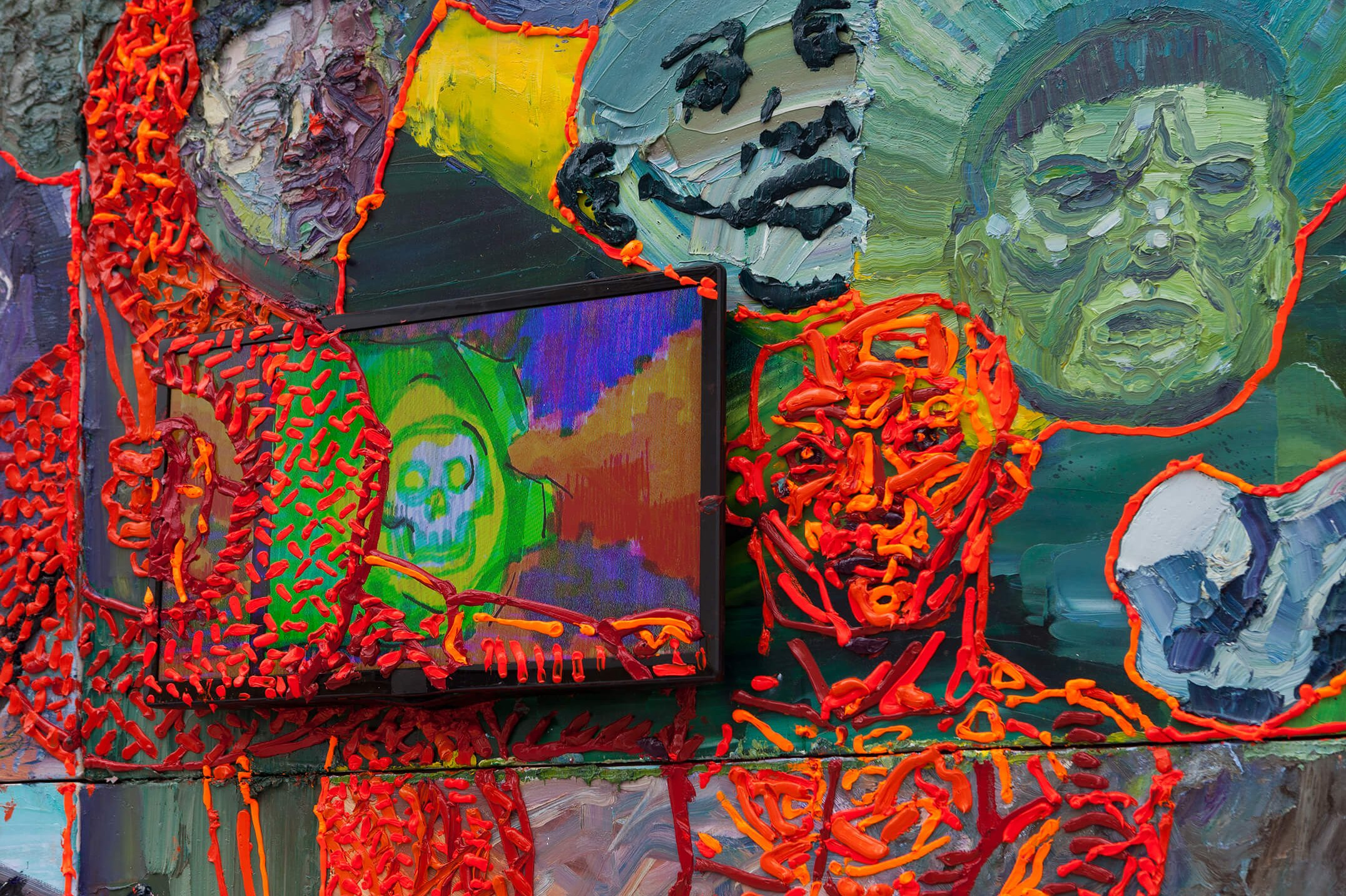 Thiago Martins de Melo,<em>A biga do porta-bandeira vermelho,</em>2016,oil on canvas, polyester and polyurethane resin, two tv monitors with stop motion animation,260 × 360 cm - Mendes Wood DM