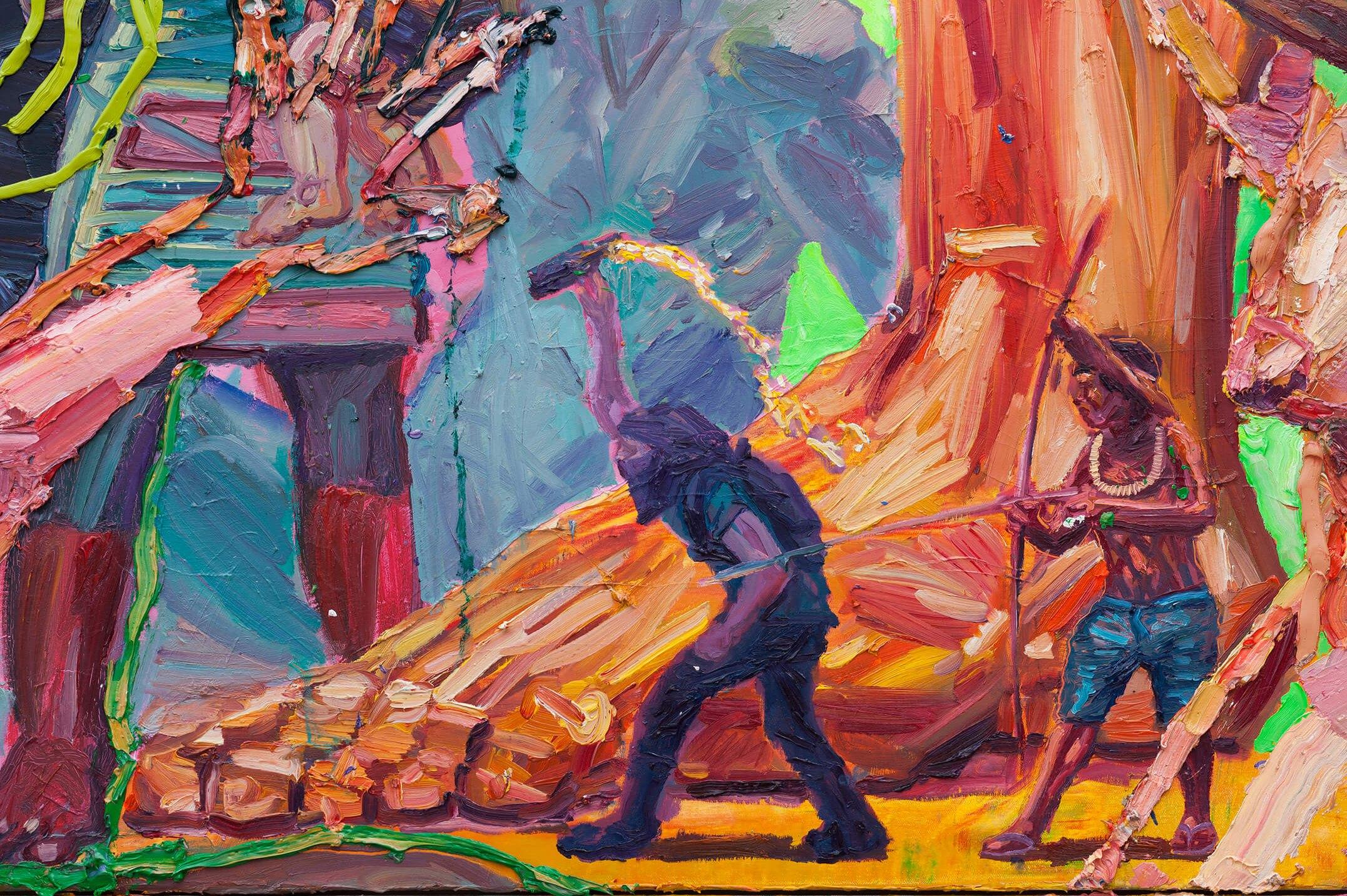 Thiago Martins de Melo,<em>A reencarnação do bandeirante no ventre vermelho</em>,2016,oil on canvas and two tv monitors with stop motion animation,260 × 360 cm - Mendes Wood DM