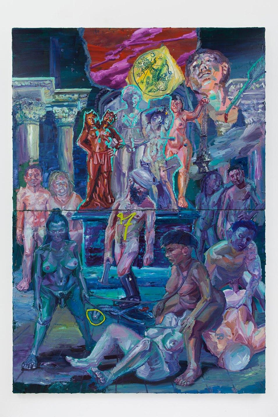 Thiago Martins de Melo,<em>Tirésias revela a vinda de São Sebastião sob a proteção de Exu 2 cabeças</em>,2016,oil on canvas, 260 × 180 cm - Mendes Wood DM