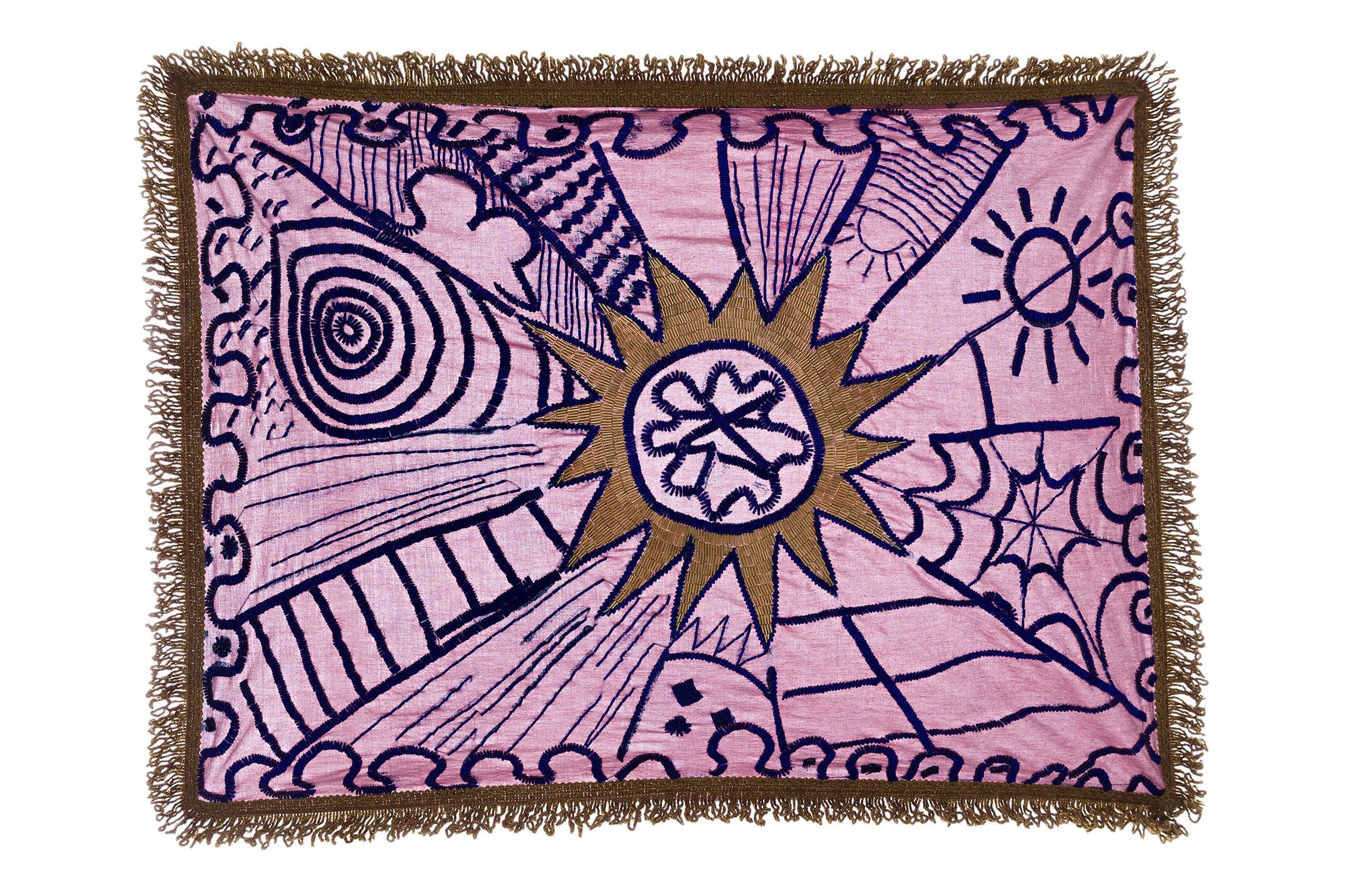 Adriano Costa,<em>Sad Samba</em>, 2015,embroidery on bed sheet piece,15 × 78 × 52 cm - Mendes Wood DM