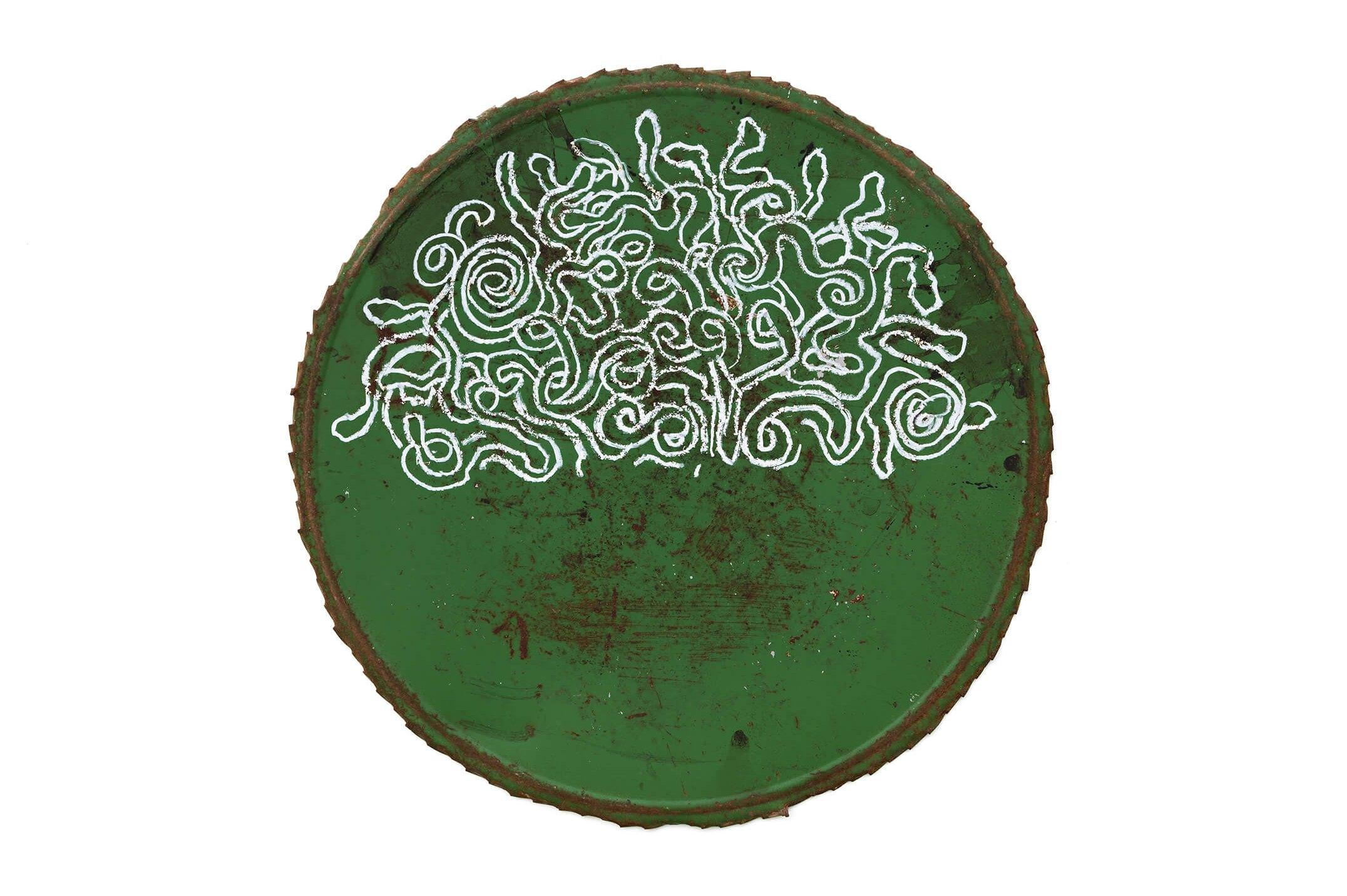 Adriano Costa, <em>Medusa's Wig</em>, 2015, pastel on metal, 56 cm ø - Mendes Wood DM