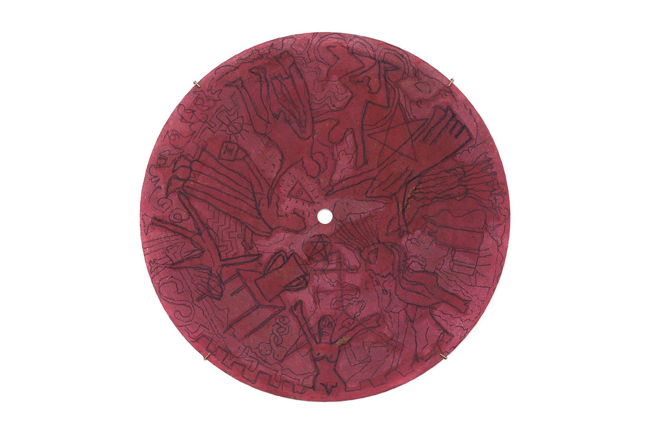 Adriano Costa,<em>The Best Art Fair Ever</em>, 2015, pen and acrylic on brass cap, 61 cm ø - Mendes Wood DM