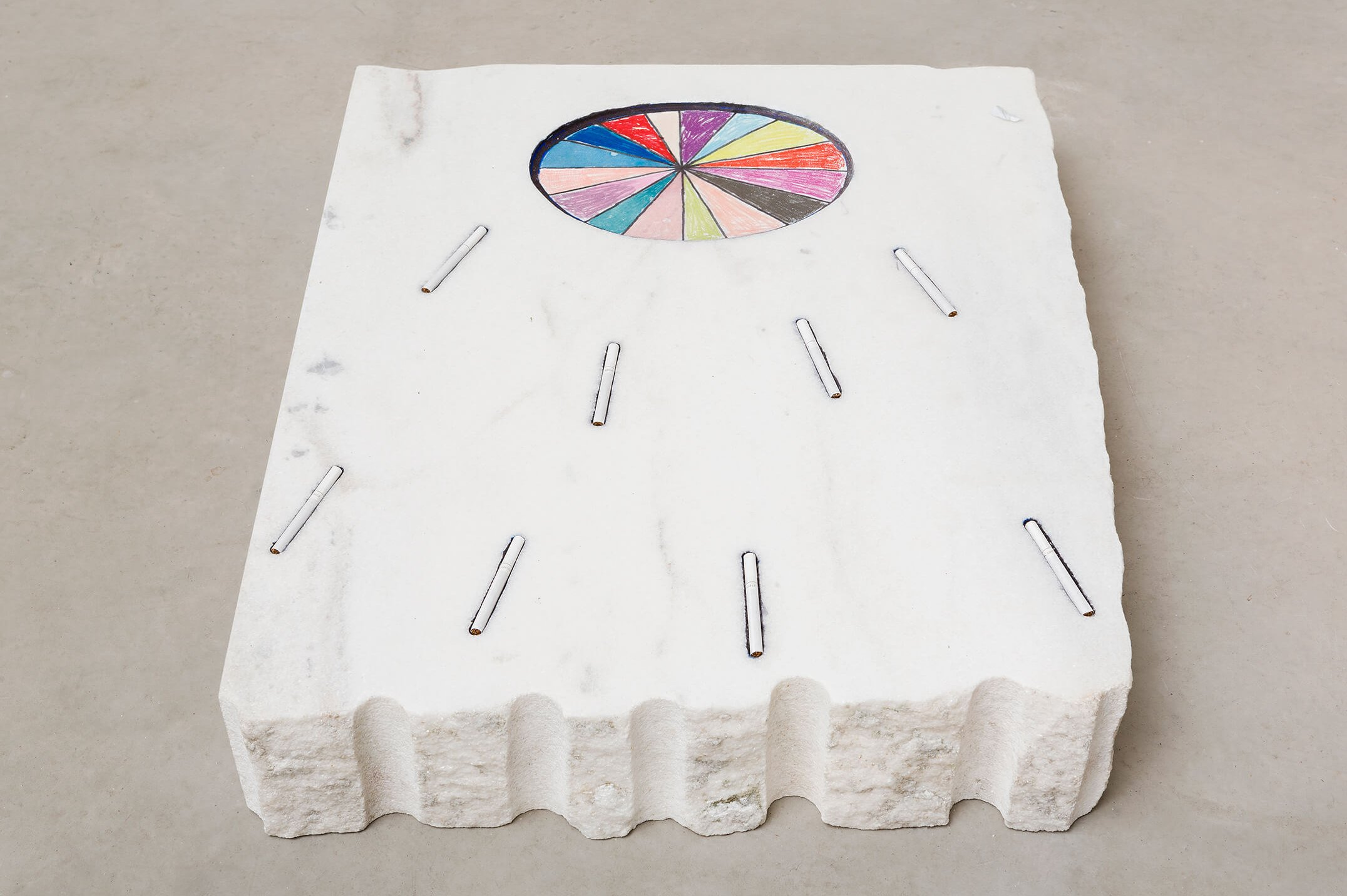 Adriano Costa,<em>Caribe</em>, 2015, graphite and cigaretts on marble block, 14 × 69 × 60 cm - Mendes Wood DM