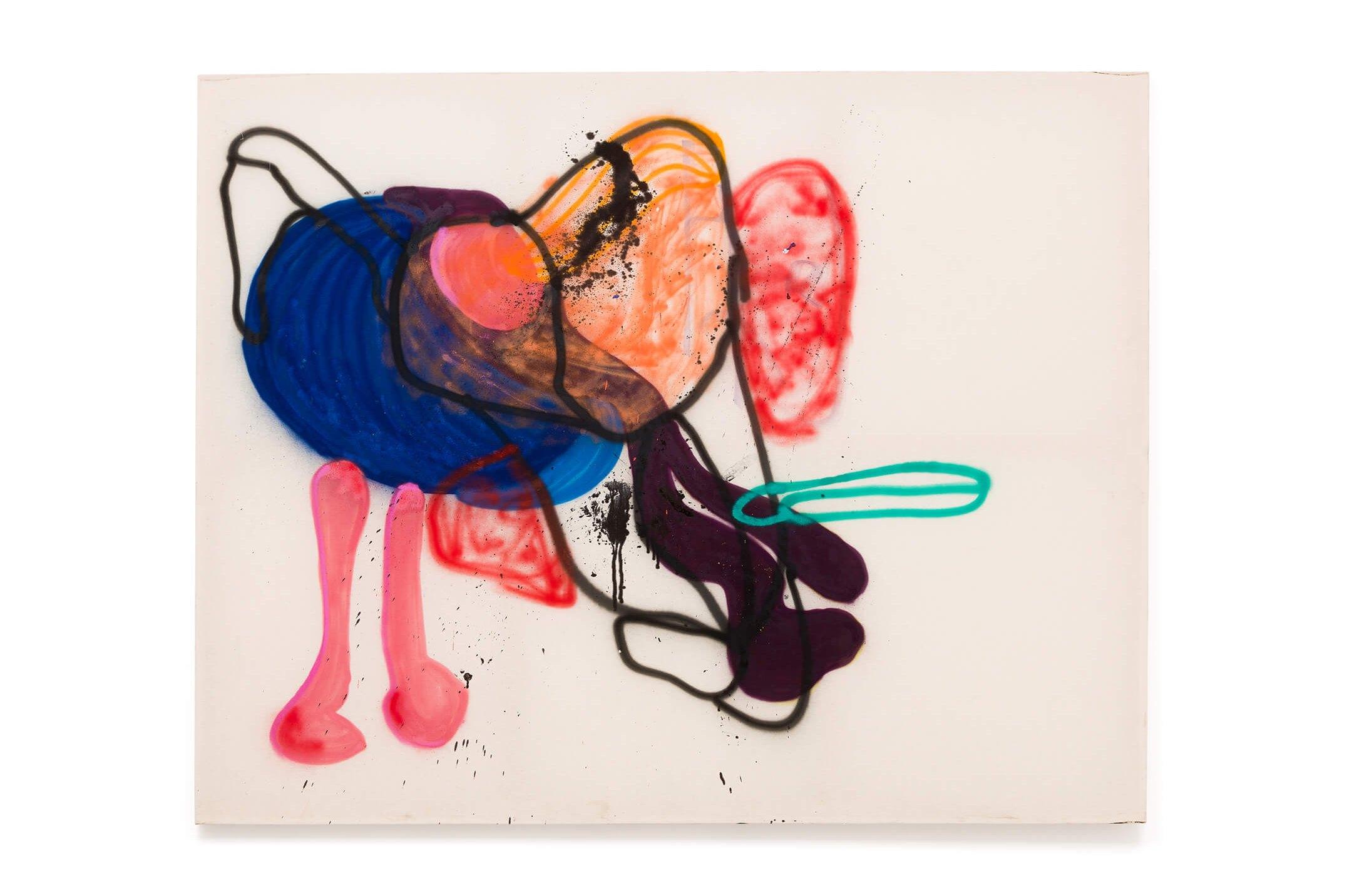 Cibelle Cavalli Bastos,<em>&nbsp;Retrato Subjetivo na Soltura</em>, 2016,&nbsp;spray and pen ink on cotton canvas,&nbsp;178 × 230 - Mendes Wood DM