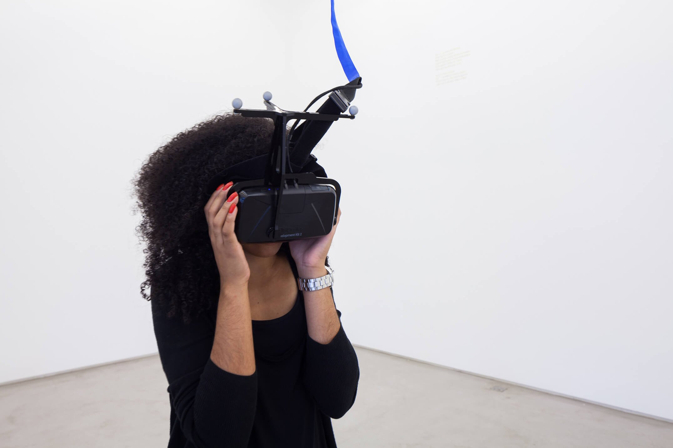 Daniel Steegmann Mangané,<em>Phantom (kingdon of all the animals and all the beasts is my name)</em>, 2014,Oculus Rift virtual reality headset, Unity 3D forest scan, motion capture technology, custom ceiling gridl,variable dimensions - Mendes Wood DM