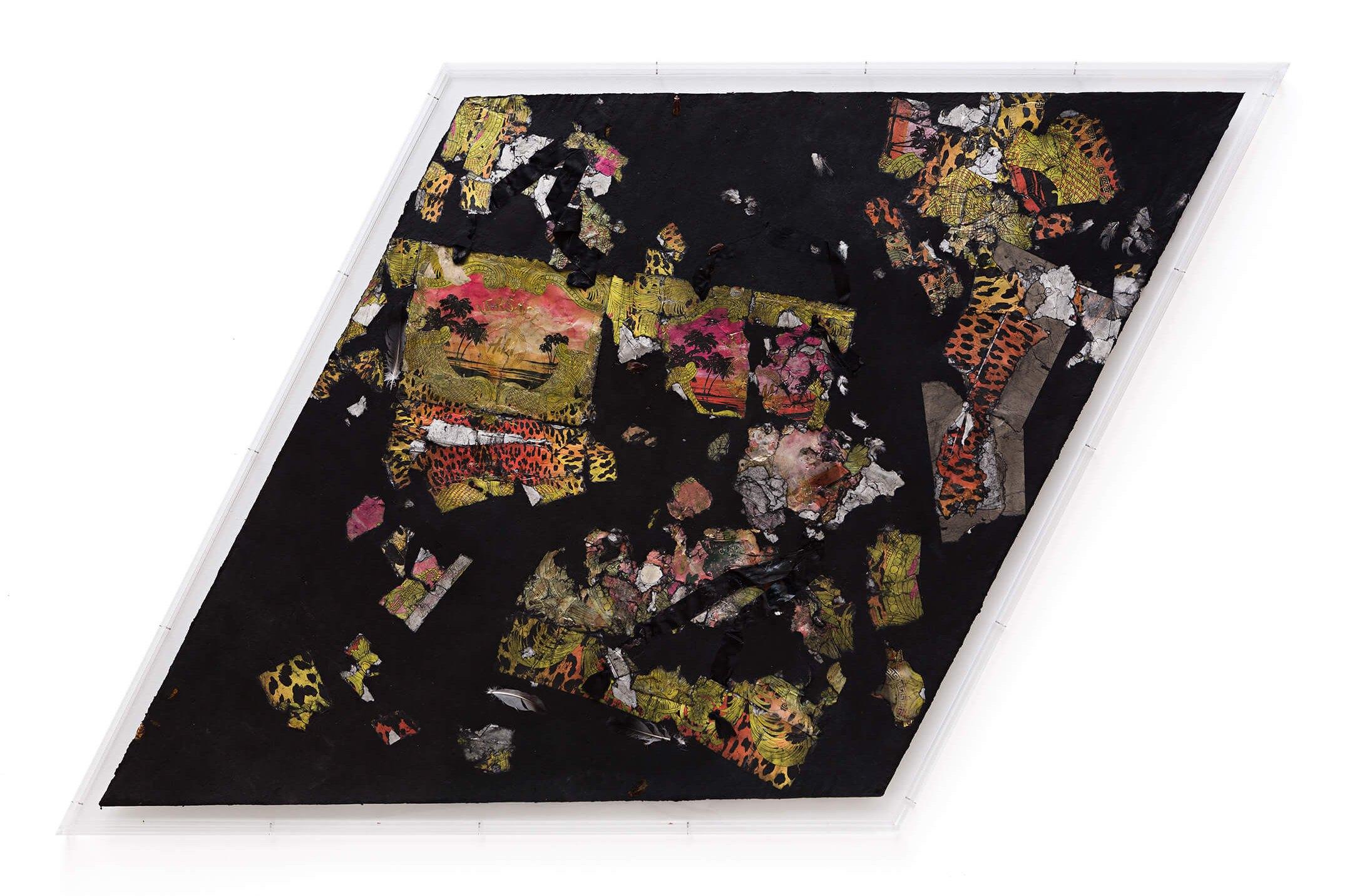 Stewart Uoo,<em>Untitled (Versace/H&M Medium Black II), </em>2015<em>,</em>cotton rag denin, paper shopping bags, flies (Calliphora vomitoria), cockroaches (Periplaneta americana), pigeons (Columba livia) feathers, pigment, polyurethane resin, synthetic fibers, dust,111,75 × 109,2 × 0,95 cm - Mendes Wood DM
