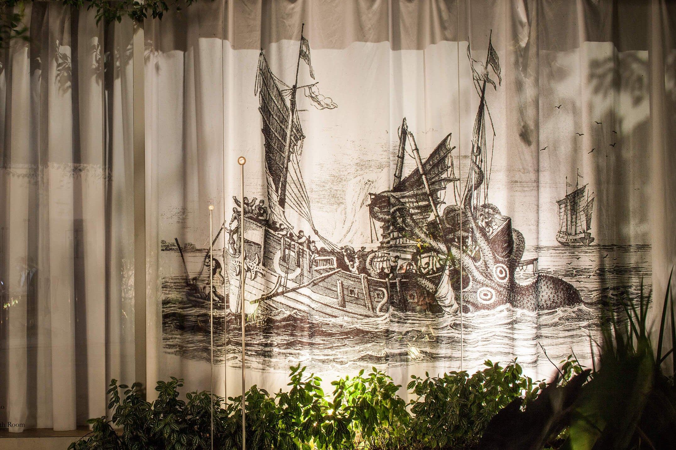 Runo Lagomarsino,<em>Mare Nostrum Mare Mostrum,</em>2015,digital print on cotton,305 × 1400 cm - Mendes Wood DM