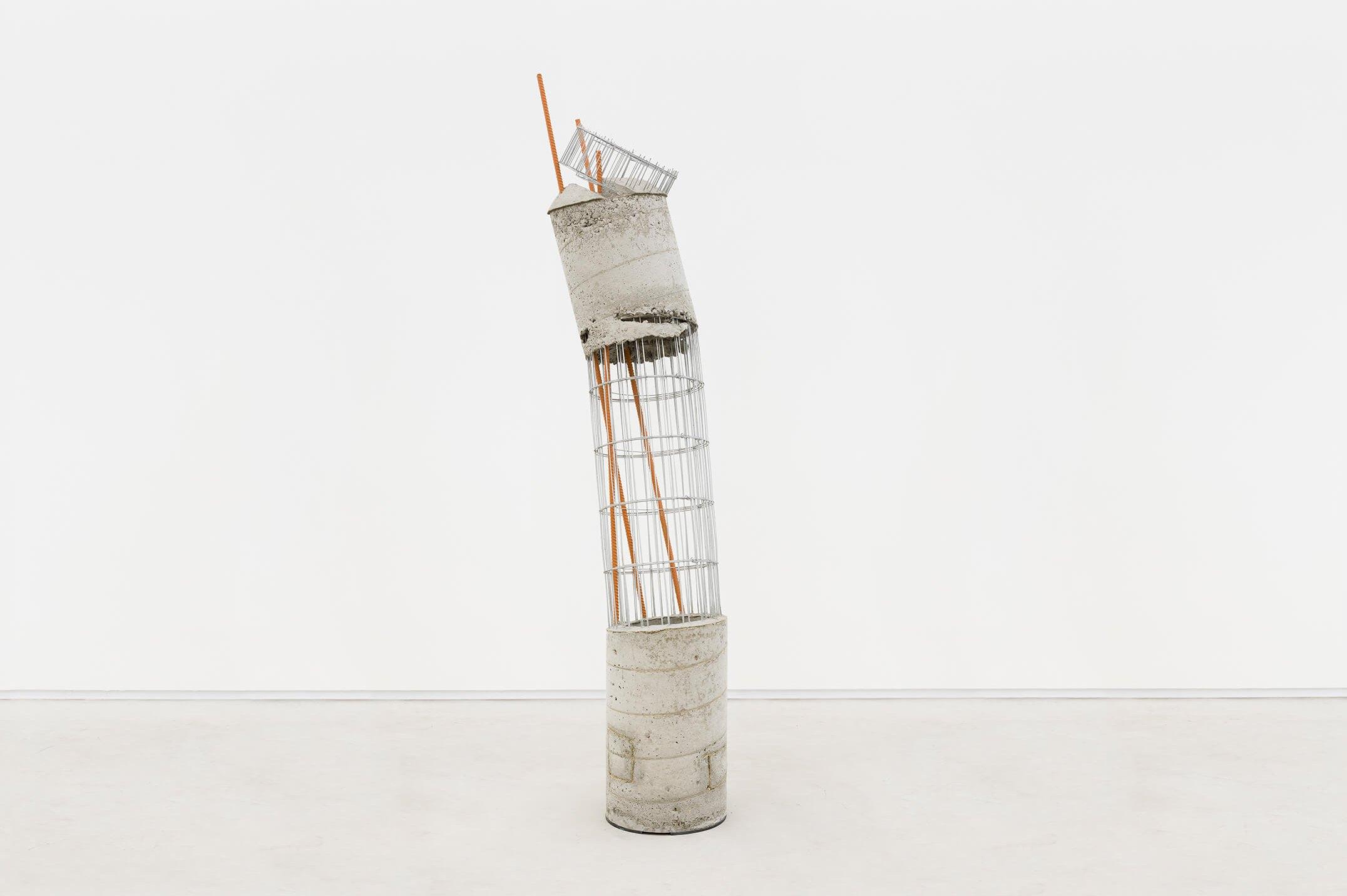 Allyson Vieira,<em>Worker 4</em>, 2015,concrete, steel and caution tape,189 × 38 ×36 cm - Mendes Wood DM
