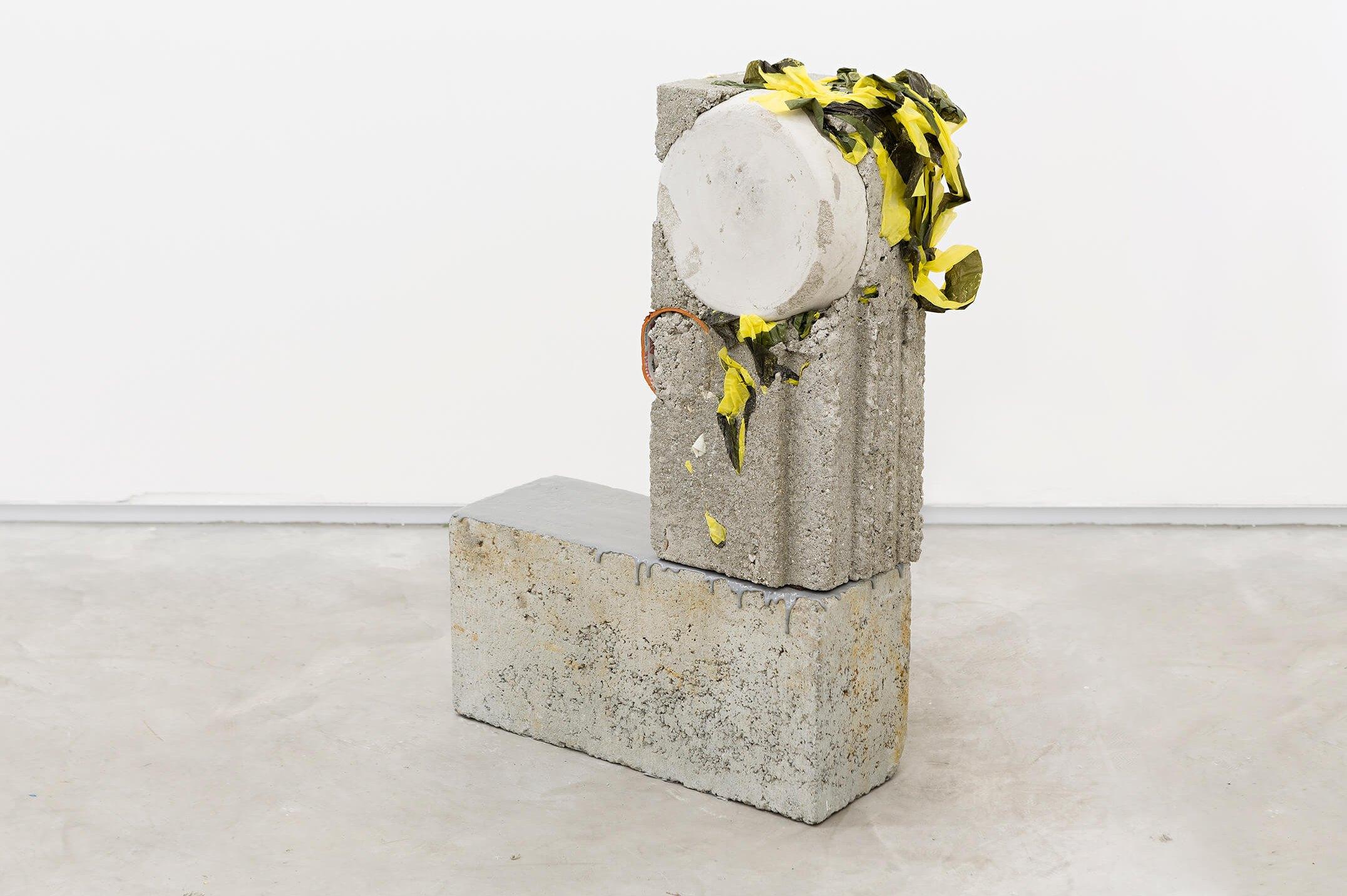 Allyson Vieira,&nbsp;<em>Block 1, Block 16</em>, 2015,&nbsp;concrete, <em>Worker</em> scraps, concrete blocks, epoxy,&nbsp;59 × 39 ×&nbsp;14 cm - Mendes Wood DM