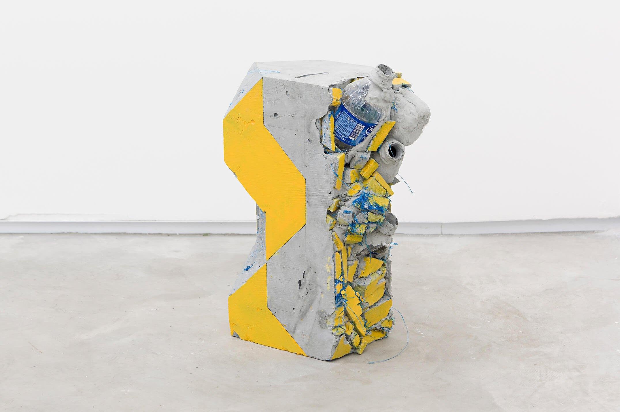 Allyson Vieira, <em>Block 15</em>, 2015, concrete, <em>Worker</em> scraps, concrete blocks, 42 × 28 × 14 cm - Mendes Wood DM