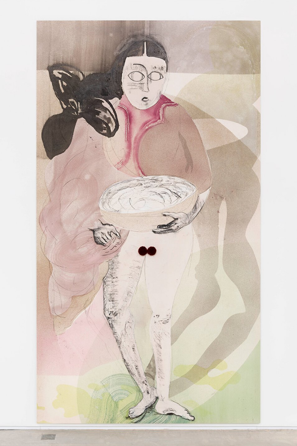 Matthew Lutz-Kinoy, <em>Lady Kiritsubo arrives at the flower feast,</em> 2015, acrylic and charcoal on unprimed canvas, 325 × 180 × 2,3 cm - Mendes Wood DM