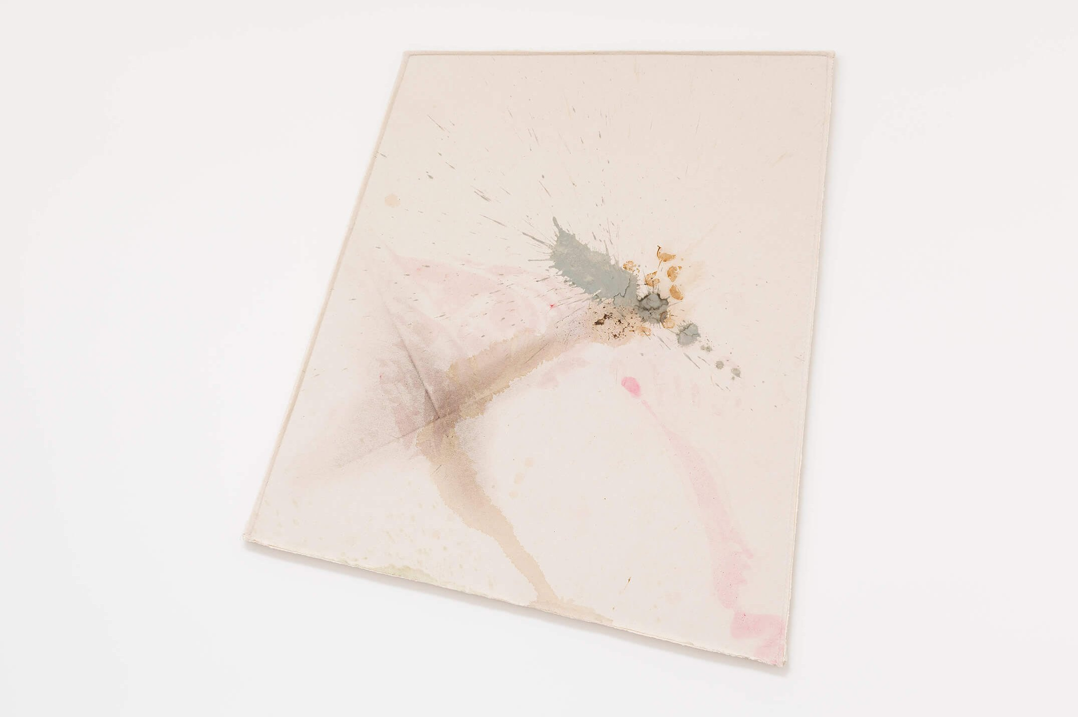 Lucy Dodd,&nbsp;<em>The Flight of the Passaro Sagrado, </em>2015,&nbsp;quarry hill river clay, Tetley's, foss leaf extract, Verona green earth and mixed pigments on canvas, 124 × 139 × 4 cm - Mendes Wood DM