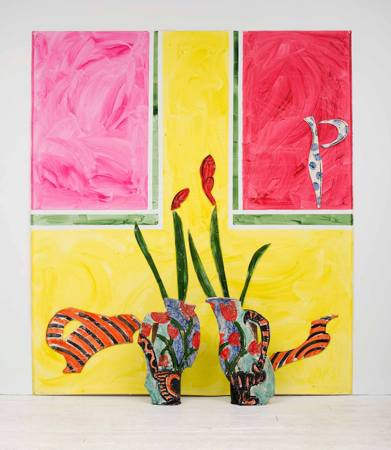 Betty Woodman, <em>Tulip Vases / Yellow Room, </em>2010, glazed earthenware, resin epoxy, acrylic paint, canvas, 243,8 × 213 × 30,4 cm - Mendes Wood DM