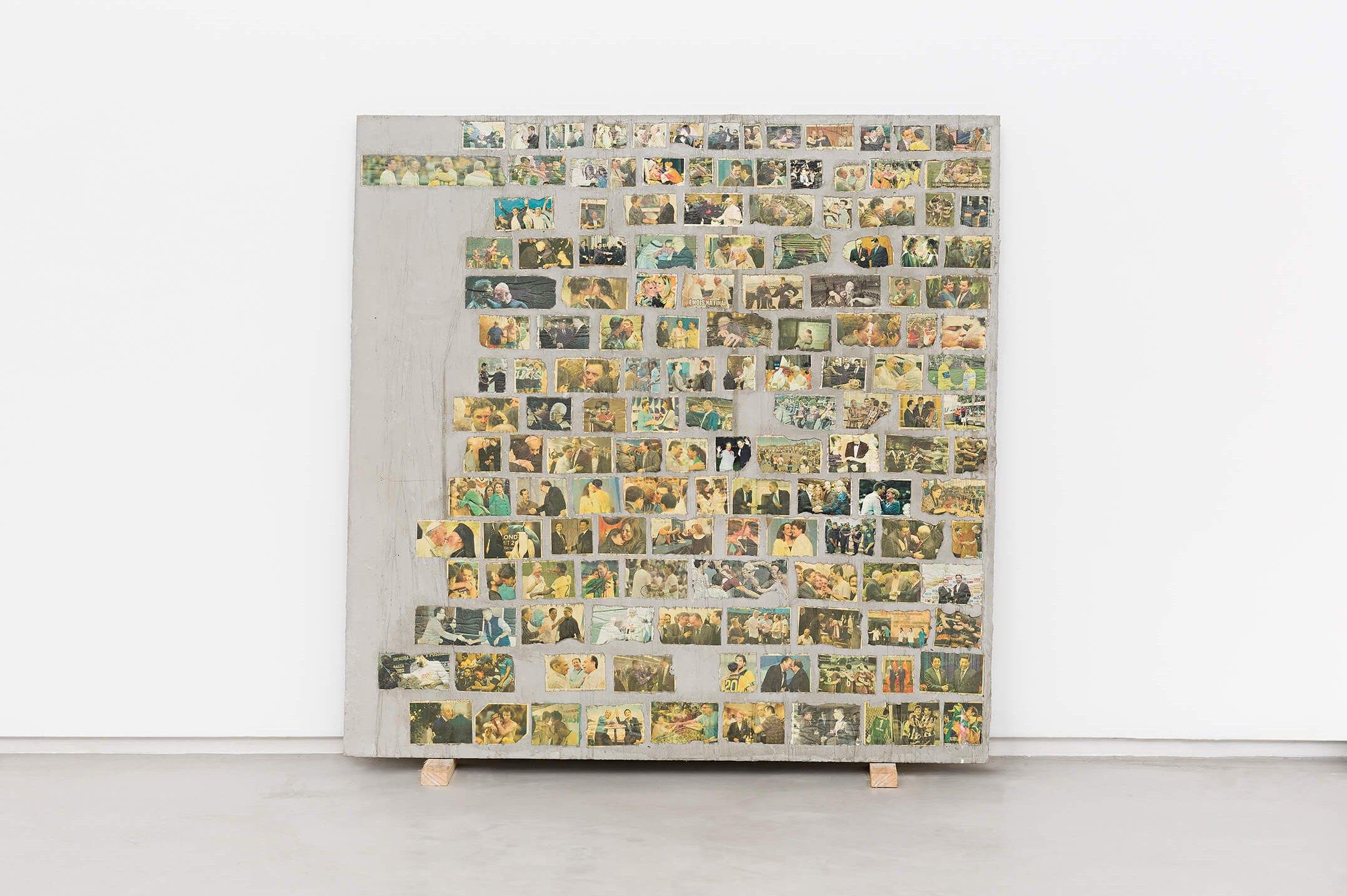Matheus Rocha Pitta,<em>Décimo Primeiro Acordo</em>, 2013,concrete and paper,100 × 100 × 3 cm - Mendes Wood DM