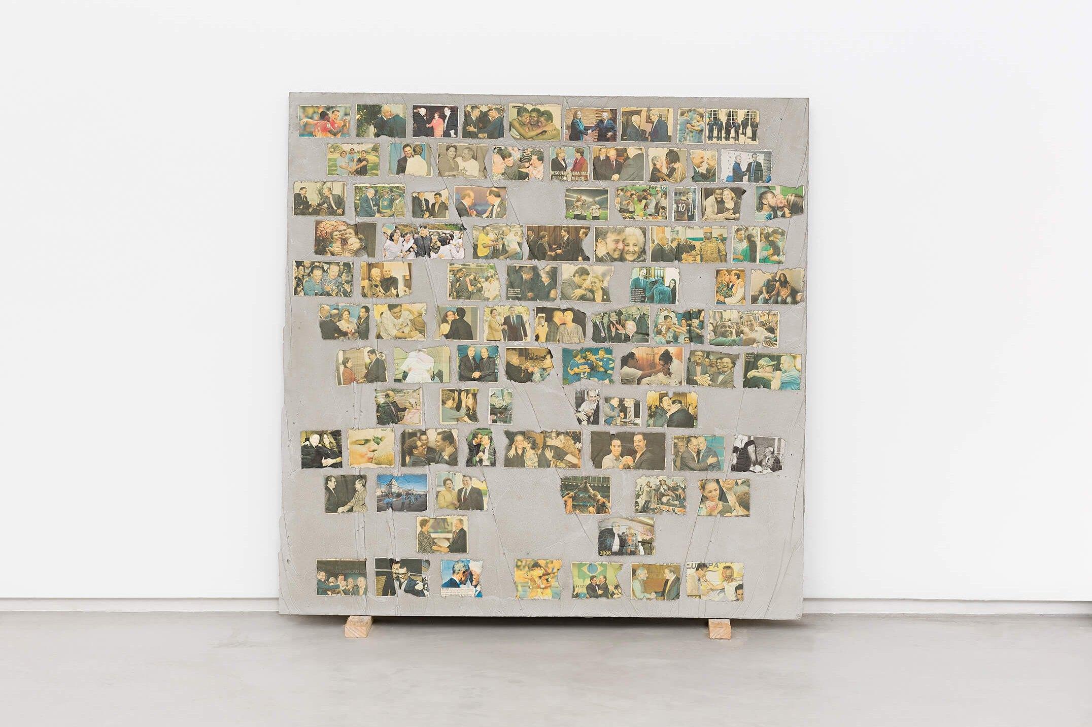 Matheus Rocha Pitta,<em>Décimo Segundo Acordo</em>, 2013,concrete and paper,100 × 100 × 3 cm - Mendes Wood DM