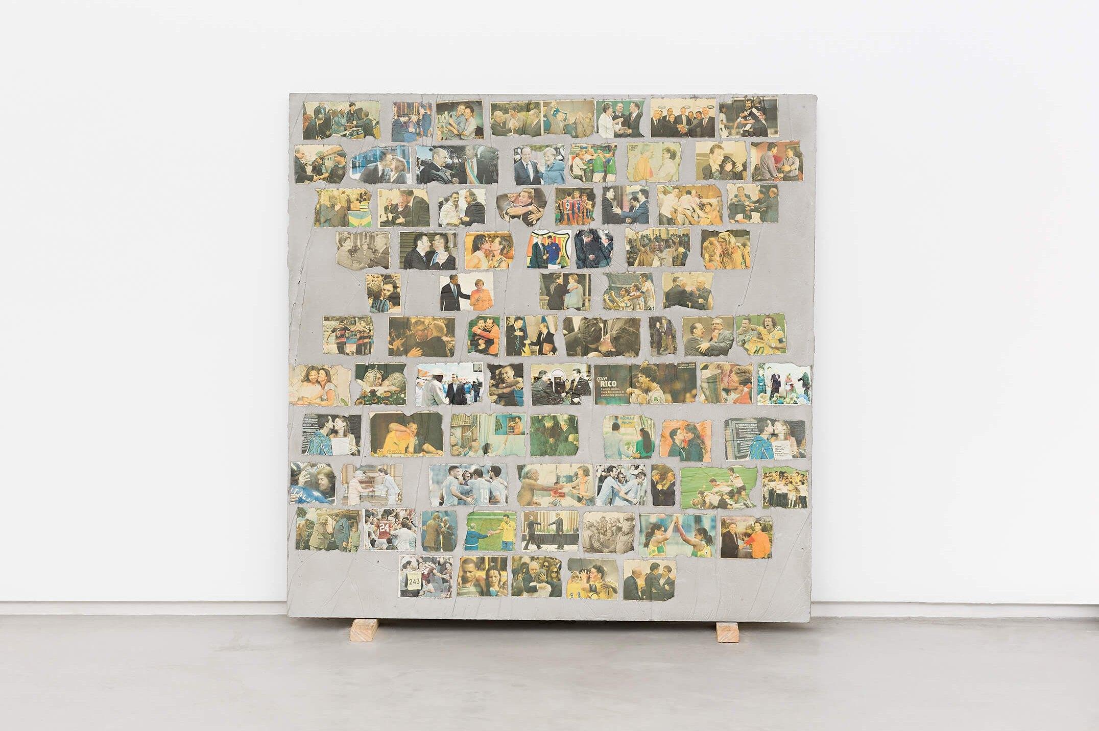 Matheus Rocha Pitta,<em>Décimo Terceiro Acordo</em>, 2013,concrete and paper,100 × 100 × 3 cm - Mendes Wood DM
