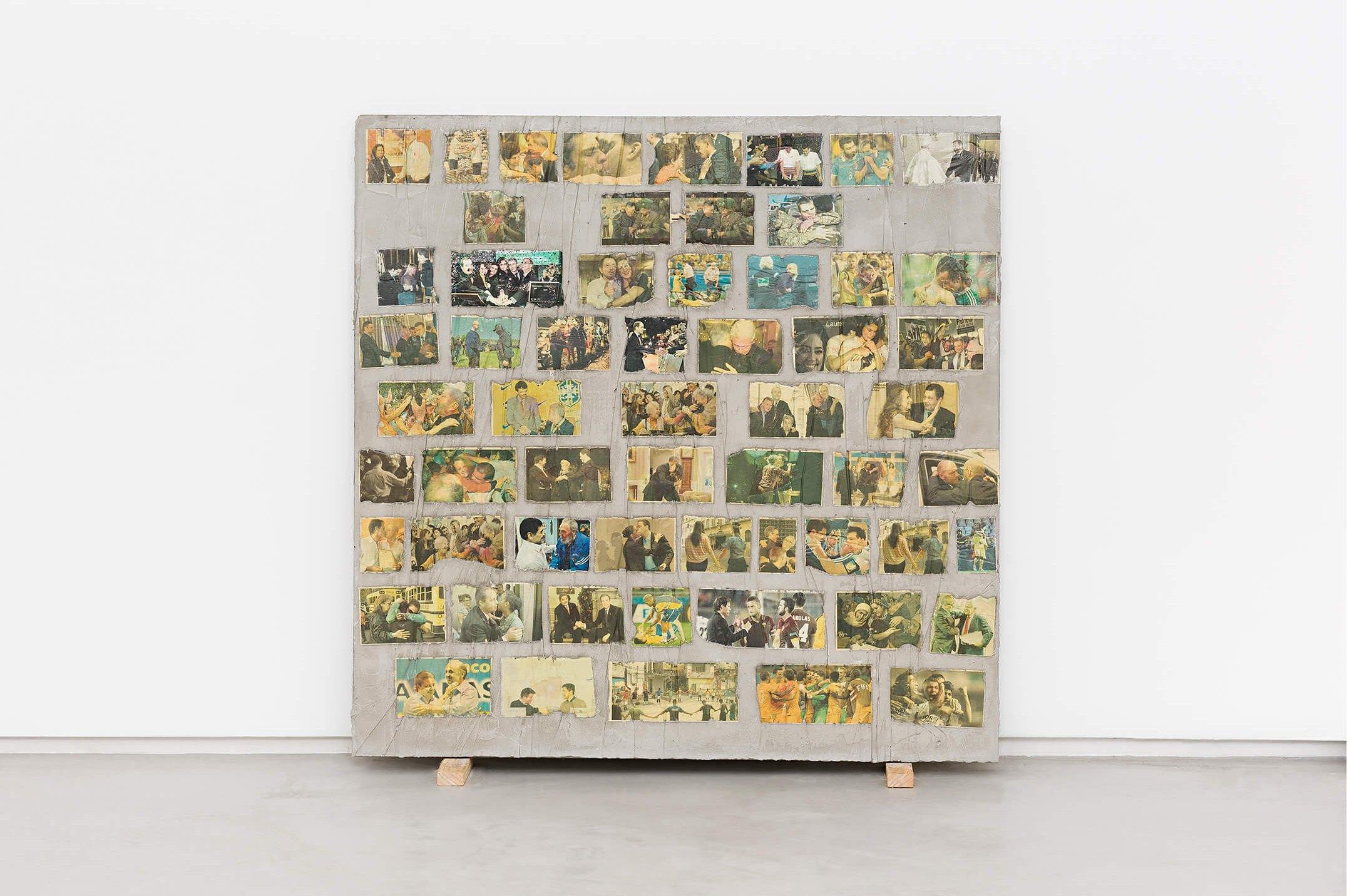Matheus Rocha Pitta,&nbsp;<em>Décimo Quarto Acordo</em>, 2013,&nbsp;concrete and paper, 100 × 100 × 3 cm - Mendes Wood DM
