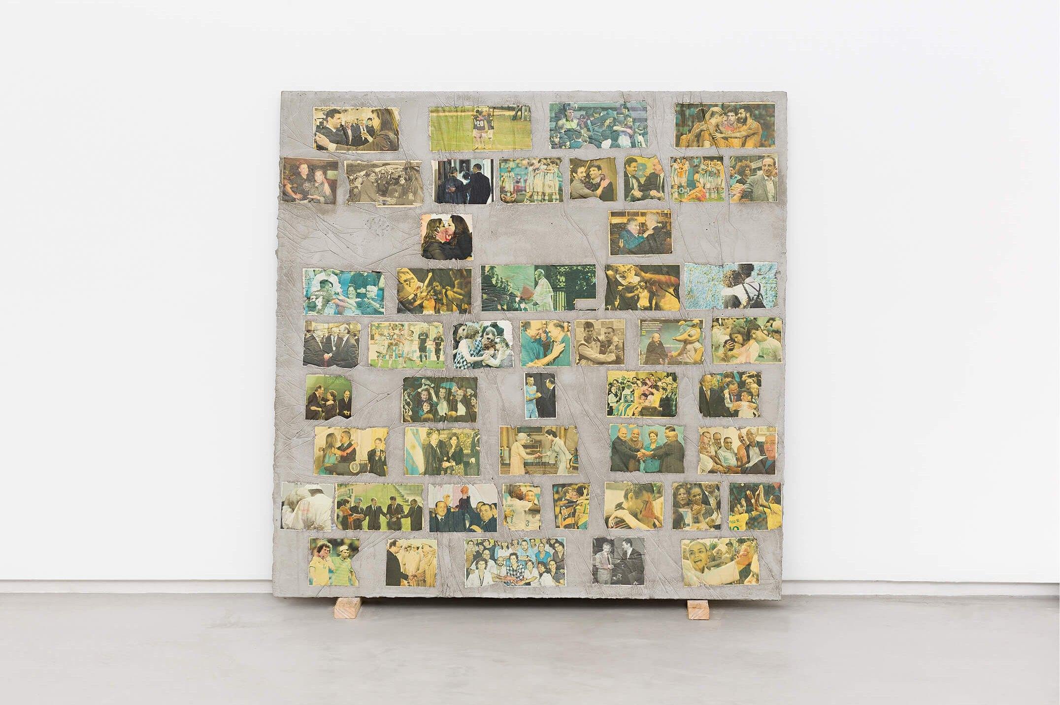 Matheus Rocha Pitta,<em>Décimo Quinto Acordo</em>, 2013,concrete and paper,100 × 100 × 3 cm - Mendes Wood DM