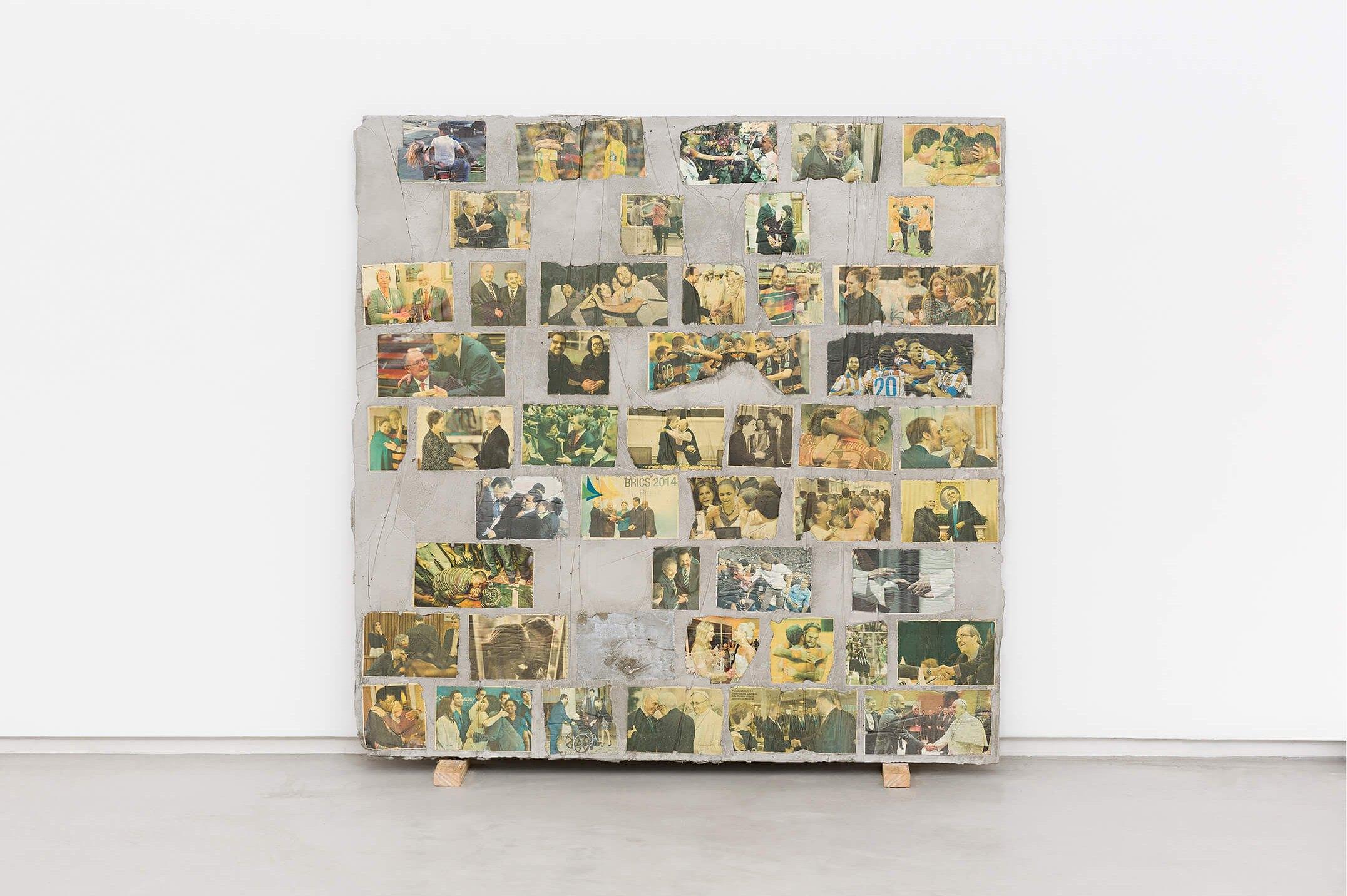 Matheus Rocha Pitta, <em>Décimo Sexto Acordo</em>, 2013, concrete and paper, 100 × 100 × 3 cm - Mendes Wood DM