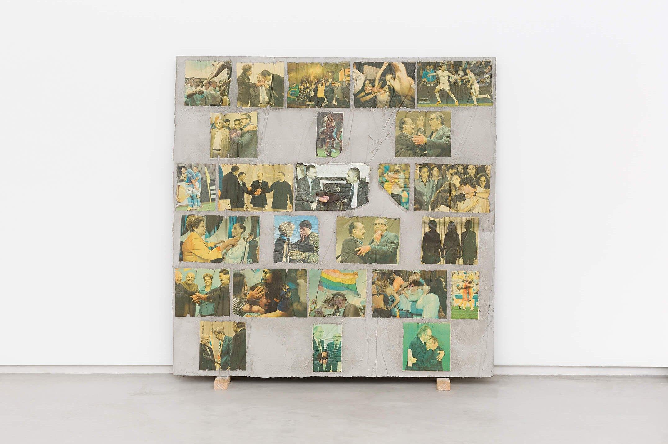 Matheus Rocha Pitta, <em>Décimo Nono Acordo</em>, 2013, concrete and paper, 100 × 100 × 3 cm - Mendes Wood DM