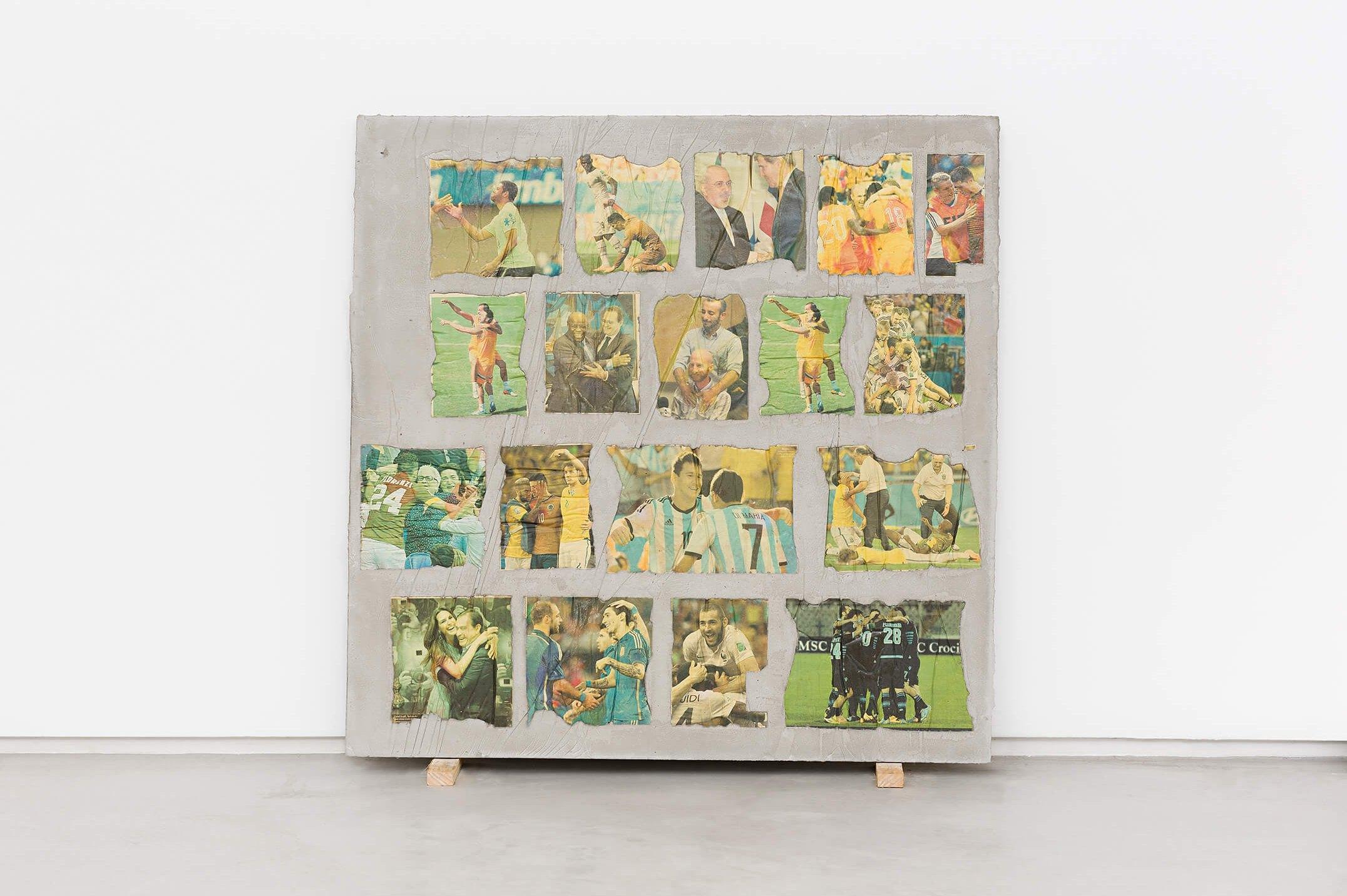 Matheus Rocha Pitta, <em>Vigésimo Sétimo Acordo</em>, 2013, concrete and paper, 100 × 100 × 3 cm - Mendes Wood DM