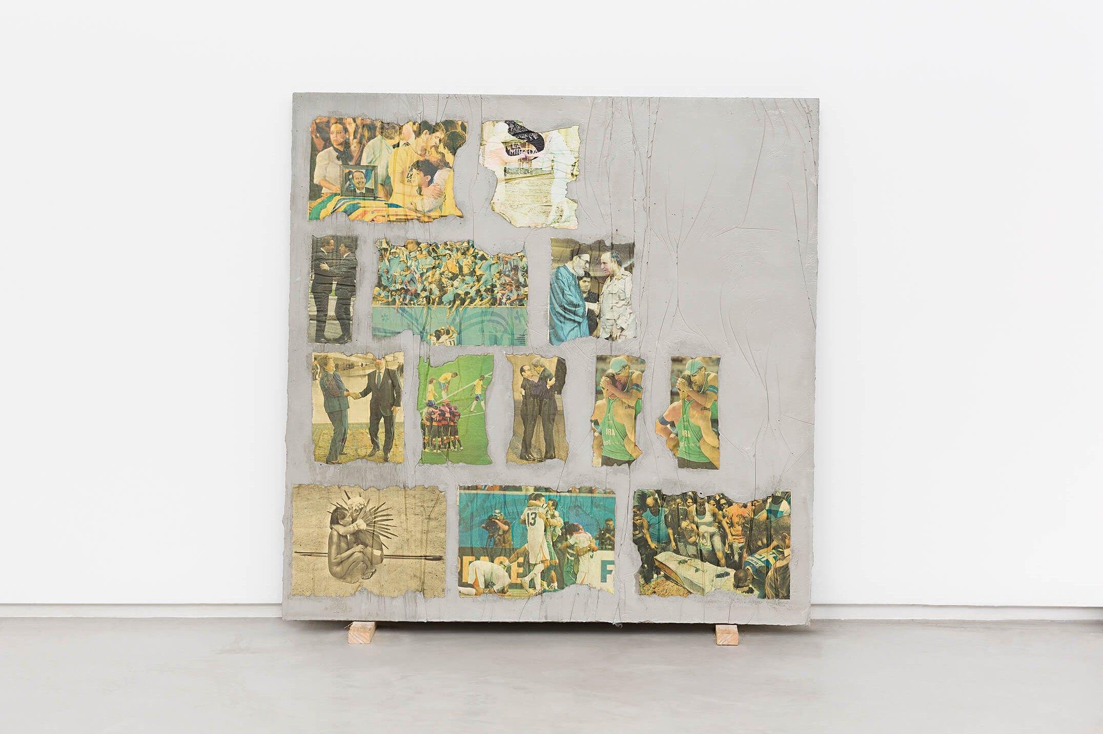 Matheus Rocha Pitta,<em>Vigésimo Oitavo Acordo</em>, 2013,concrete and paper, 100 × 100 × 3 cm - Mendes Wood DM