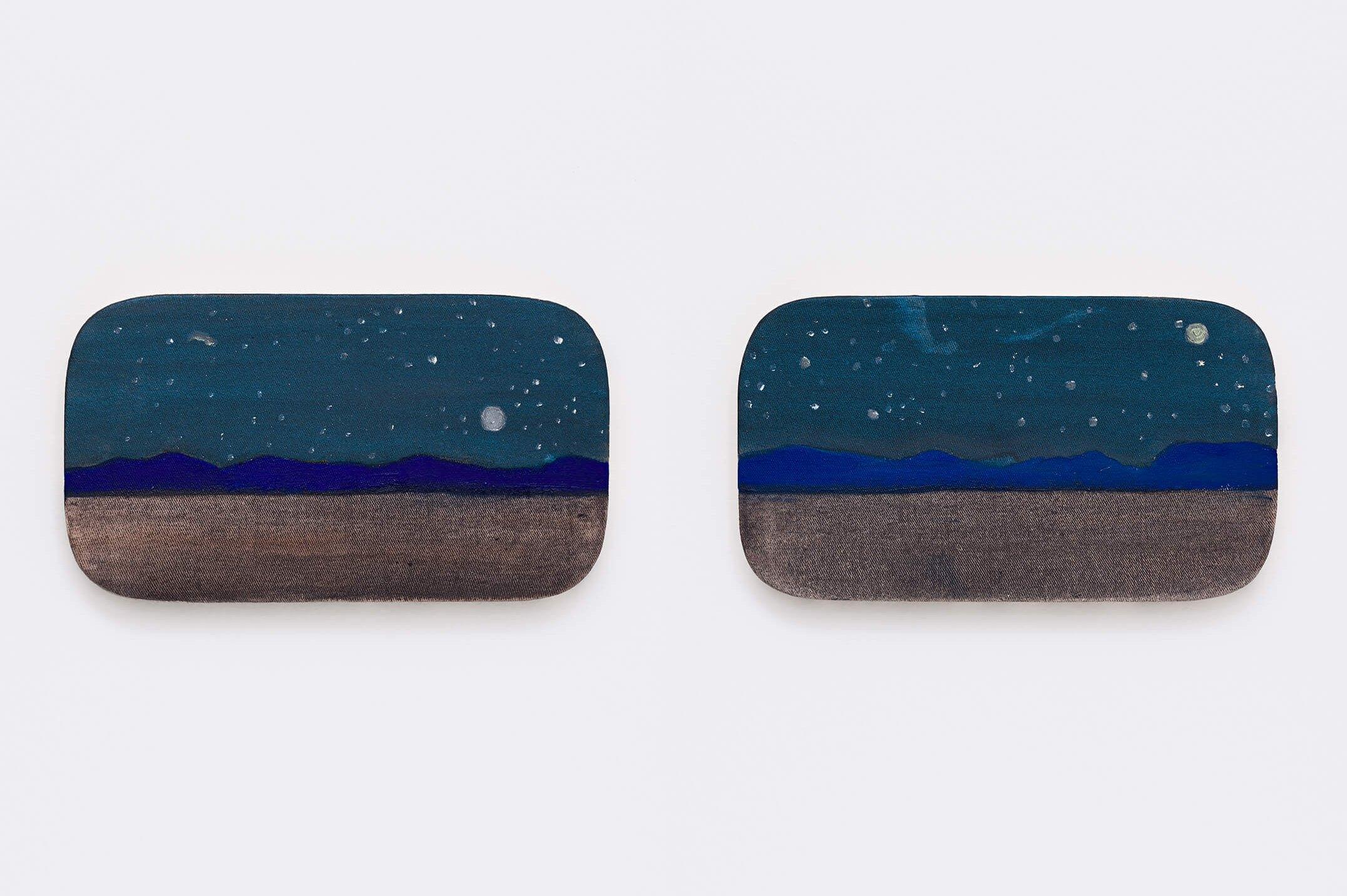 Marina Perez Simão,<em>untitled</em>, 2015,oil and iridescent pigment on canvas, 17 × 30 × 2cm (each) - Mendes Wood DM