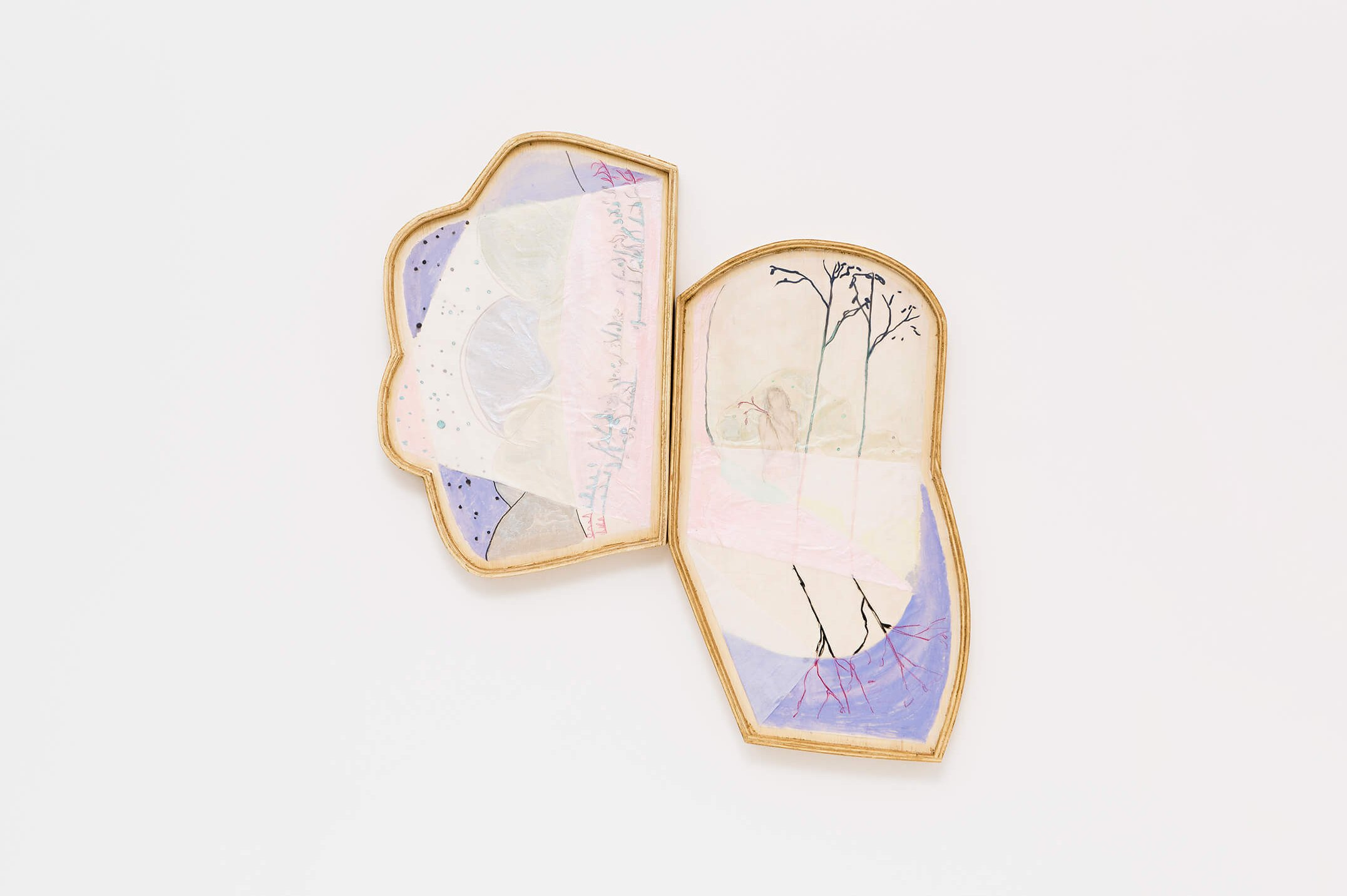 Marina Perez Simão,<em>untitled</em>, 2015,pencil, acrylic, watercolor, iridescent pigment on korean paper folded and assembled on wood, 61 × 67 × 4cm - Mendes Wood DM