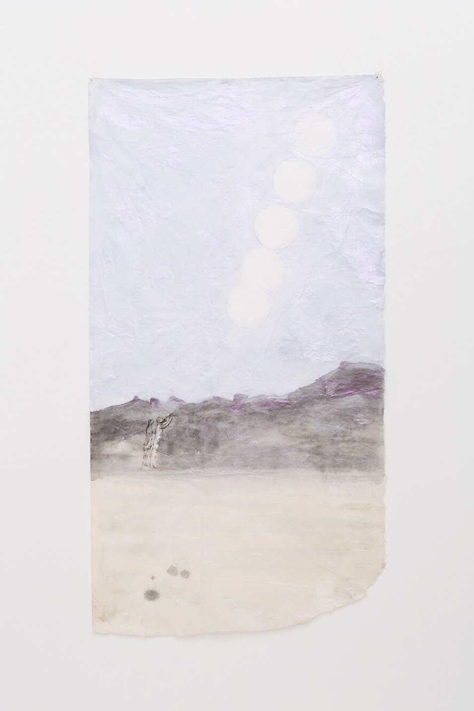 Marina Perez Simão, <em>untitled</em>, 2015, color pencil, acrylic and iridescent pigment on korean paper, 138 × 73 cm - Mendes Wood DM