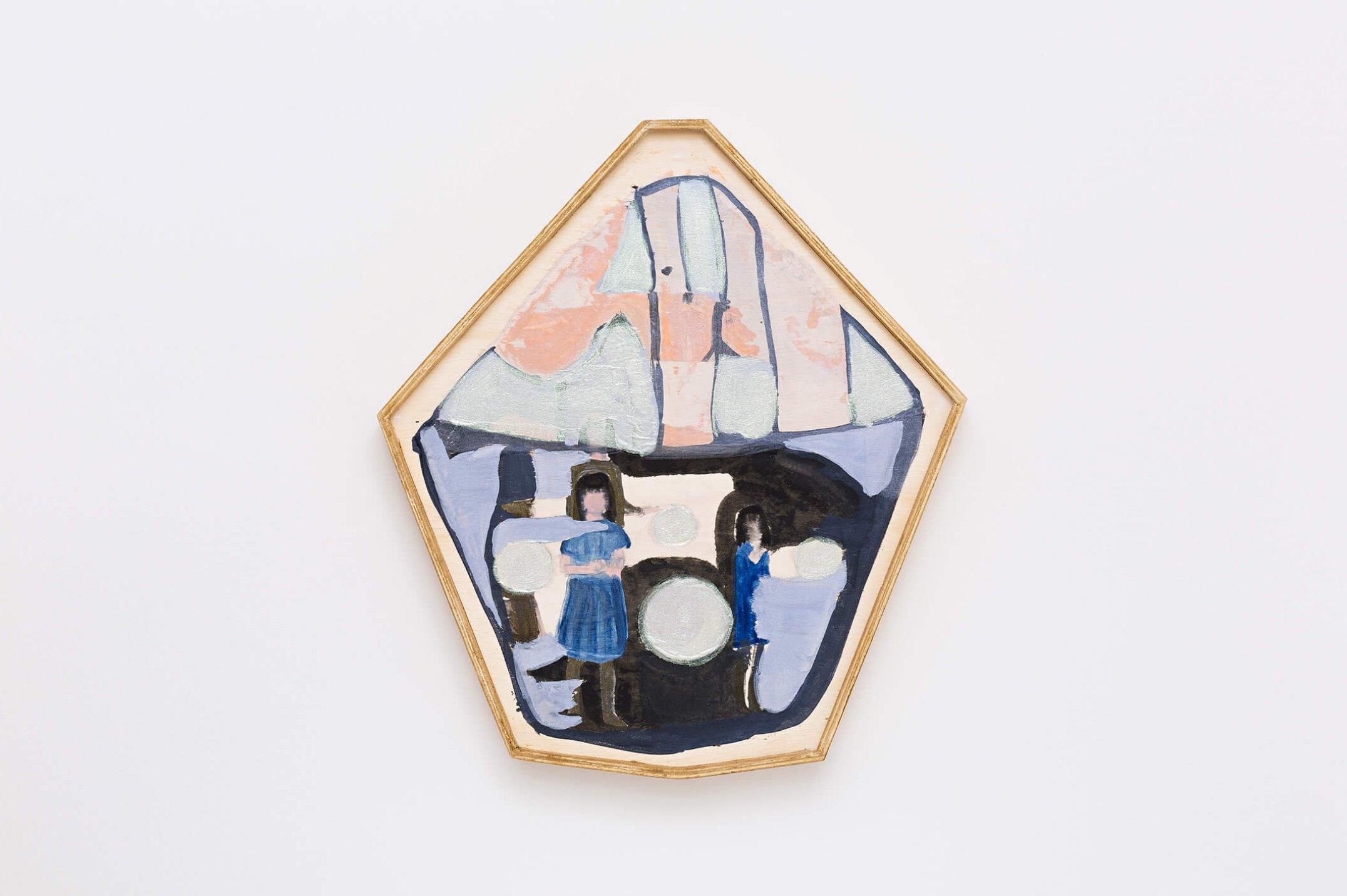 Marina Perez Simão,<em>untitled</em>, 2015, acrylic and iridescent pigment on paper assembled on wood, 54 × 46 cm - Mendes Wood DM
