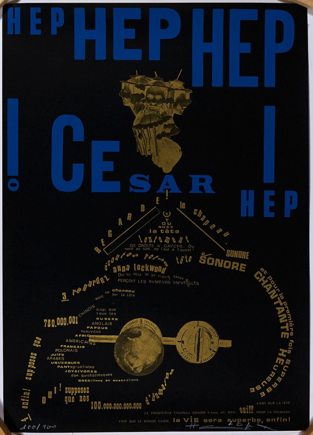 Henri Chopin,&nbsp;<em>Hep Hep Hep Cesar!</em>, 1970,&nbsp;color print on paper, crayon,&nbsp;70 × 50 cm - Mendes Wood DM