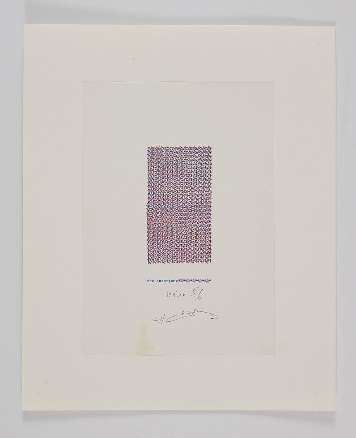 Henri Chopin,<em>The questions?</em>,1986,ink on paper (typewritten poems),42 × 34 cm - Mendes Wood DM