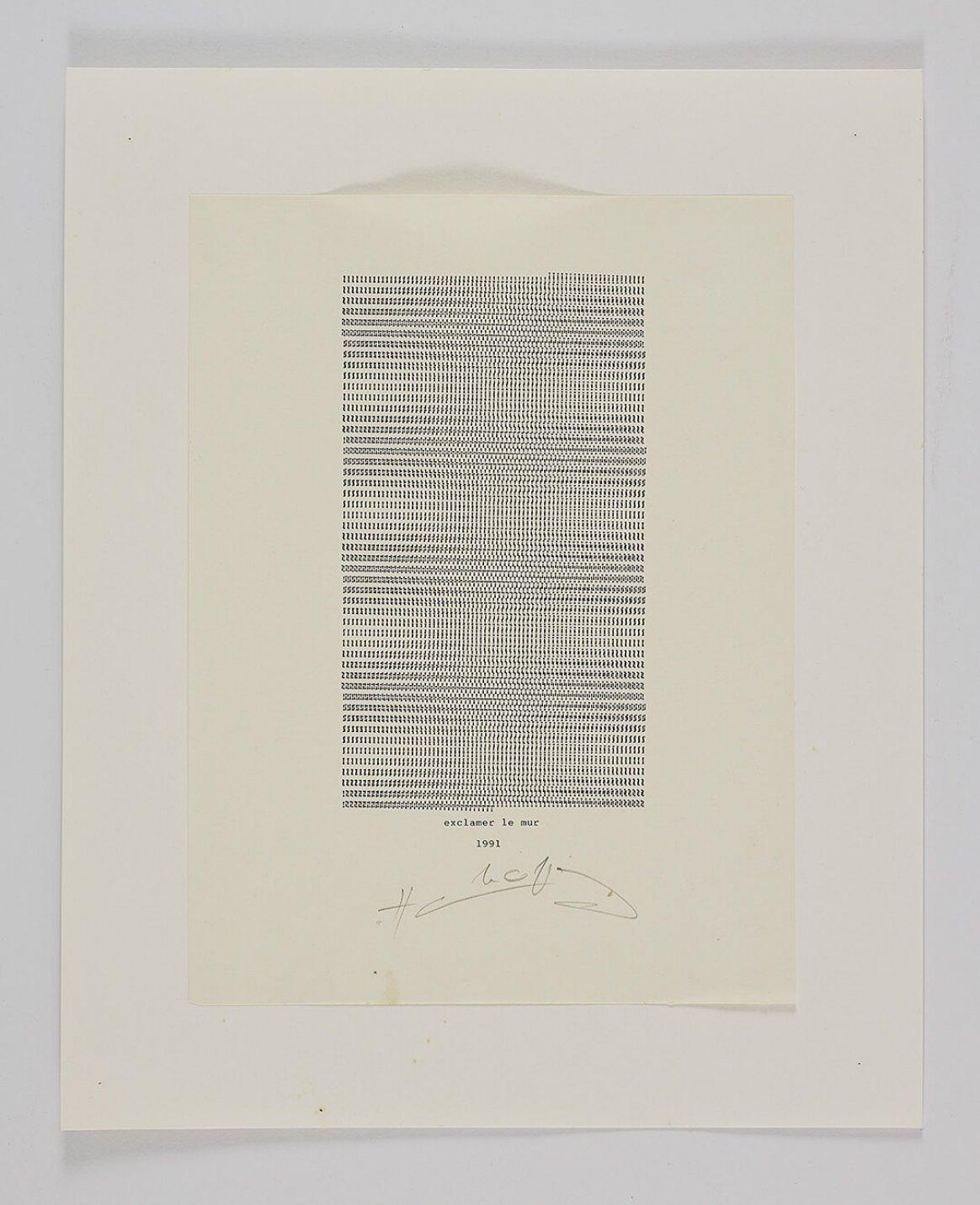 Henri Chopin,<em>Exclamer le mur</em>,1991,ink on paper (typewritten poems),42 × 34 cm - Mendes Wood DM