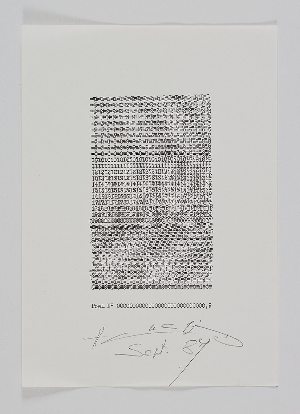 Henri Chopin,<em>Poem N 0000000000000000000000000000,9</em>,1987,ink on paper (typewritten poems),29,7 × 21 cm - Mendes Wood DM