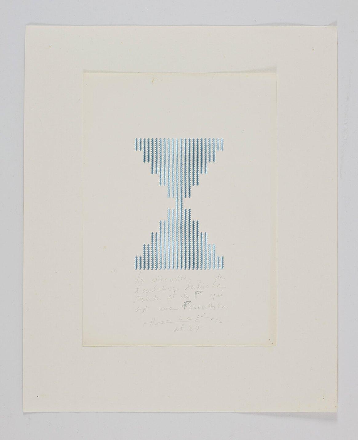 Henri Chopin, <em>La virevolte de lócclusive labiale sourde et du P qui est une Percussion</em>, 1982, ink on paper (typewritten poems), 29,7 × 21 cm - Mendes Wood DM