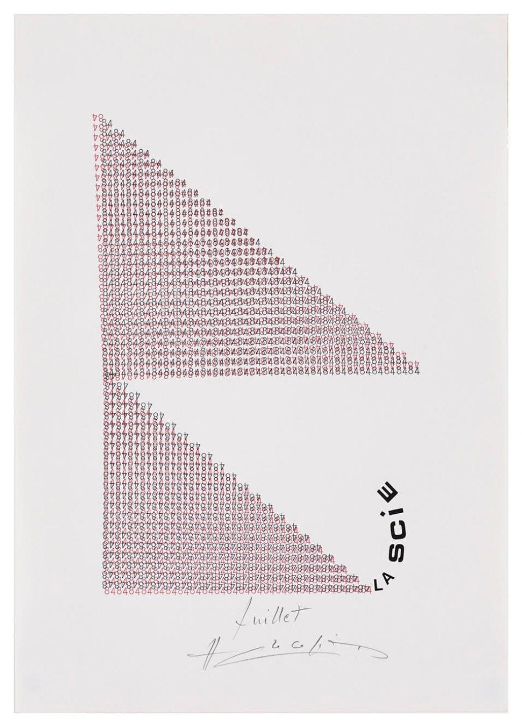 Henri Chopin, <em>La Scie</em>, 1984, ink on paper (typewritten poems), 29,7 × 21 cm - Mendes Wood DM