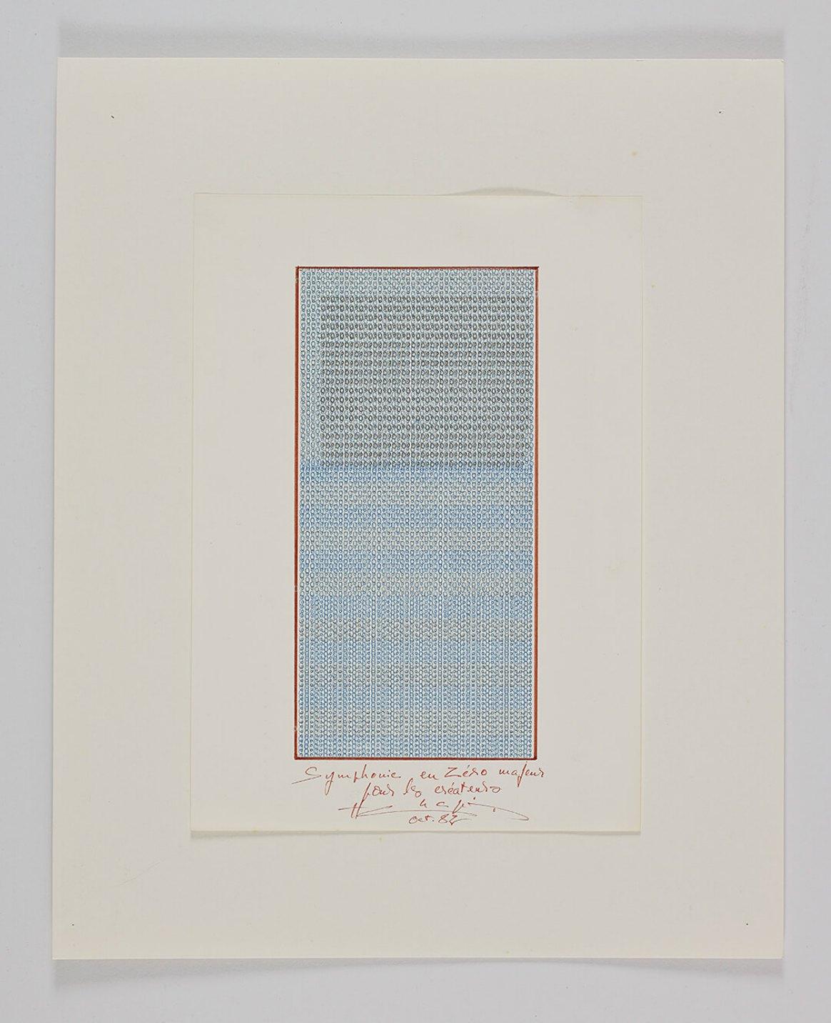Henri Chopin, <em>Symphonie en Zèro majeur pour les createurs</em>, 1982, ink on paper (typewritten poems), 29.7 × 21 cm - Mendes Wood DM