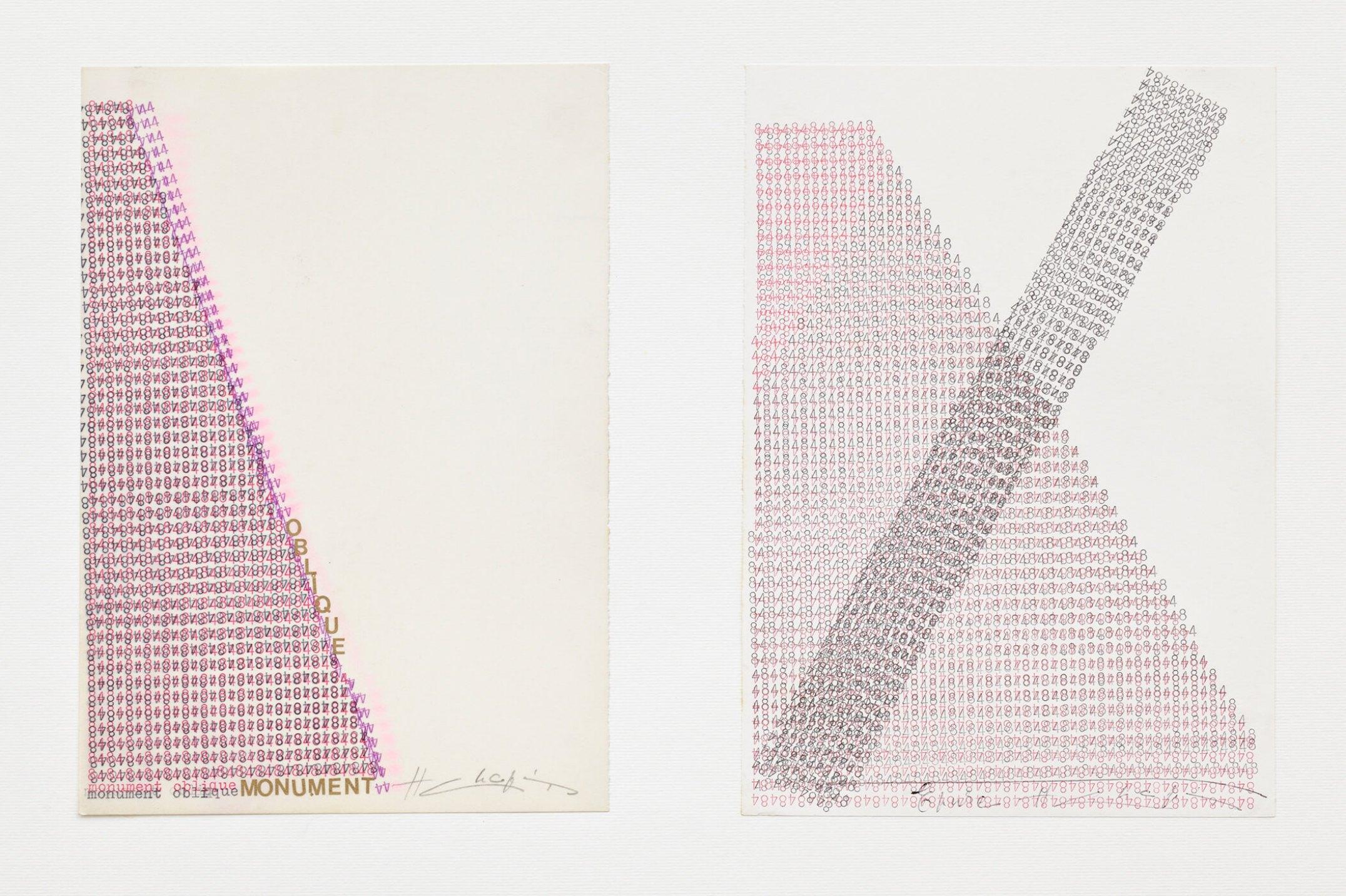 Henri Chopin,&nbsp;<em>monument oblique</em>, 1984, ink on paper (typewritten poems), 29,7 × 21 cm - Mendes Wood DM