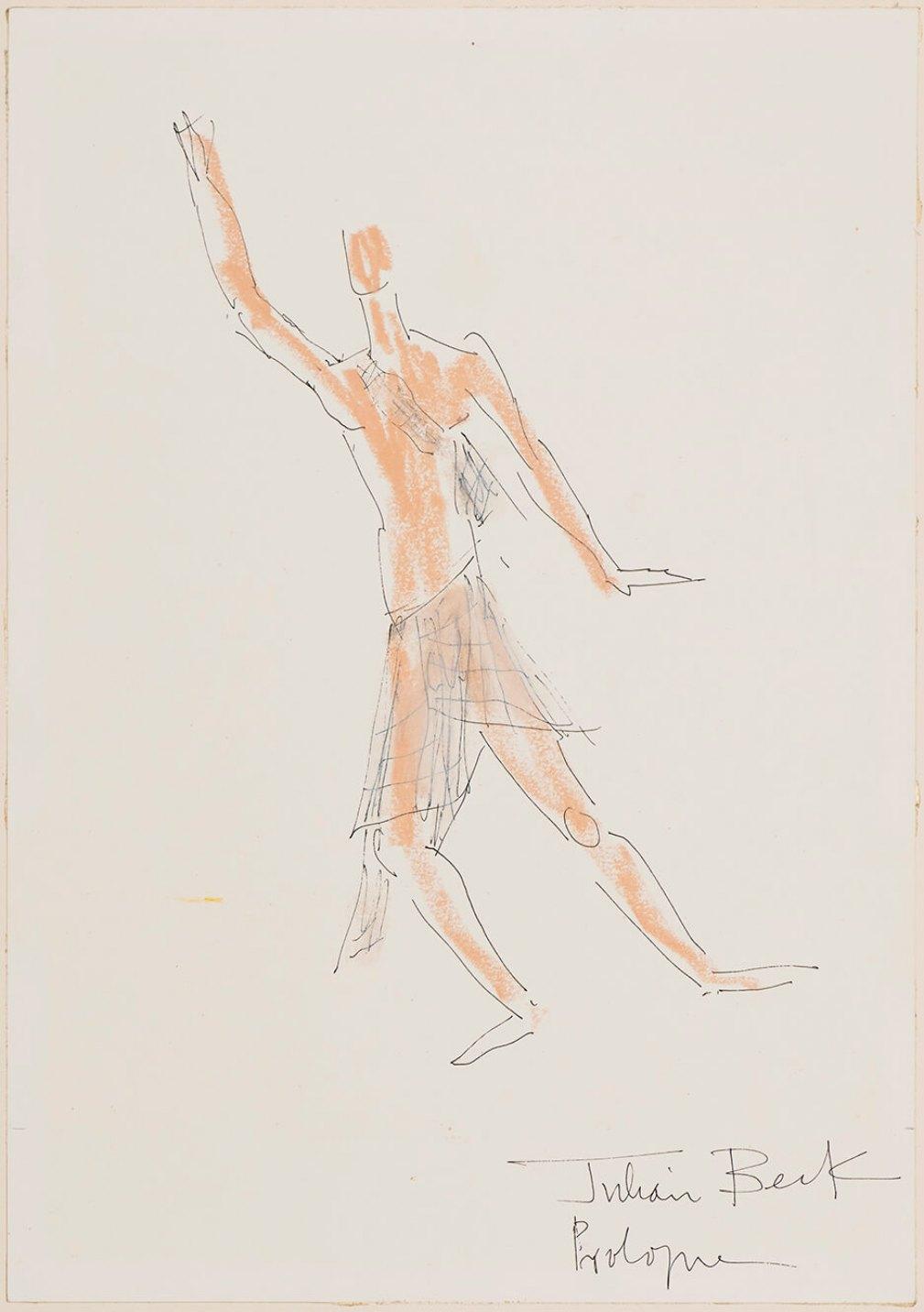 Julian Beck,<em>Prologue</em>, 1982,oil pastel and pencil on paper, 44 × 34 cm - Mendes Wood DM