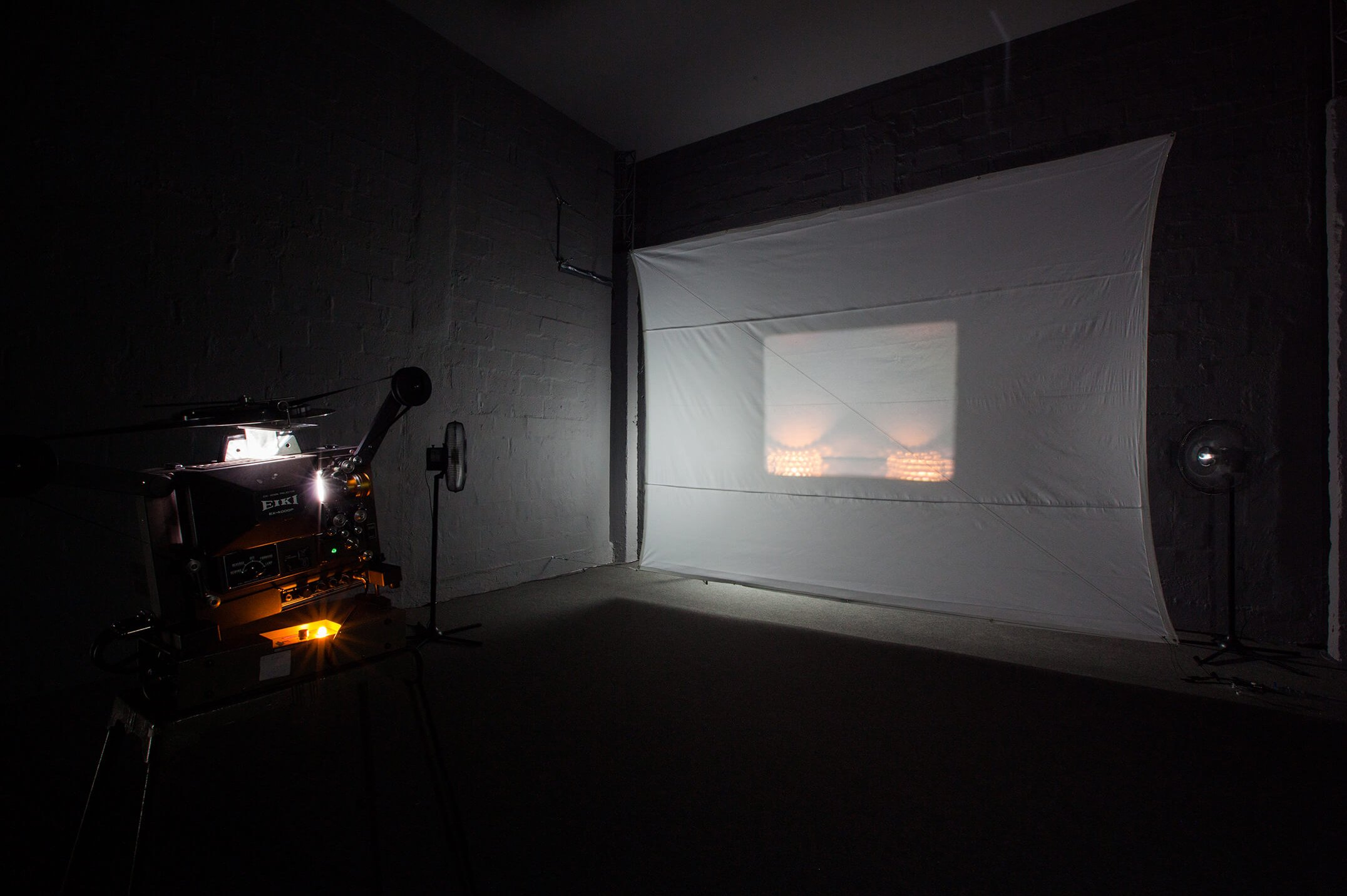 Luke Fowler, <em>Composition for Flutter Screen (w. Toshiya Tsunoda)</em>, 2008, video installation with 16mm colour film and projector, homemade screen, variable dimensions - Mendes Wood DM