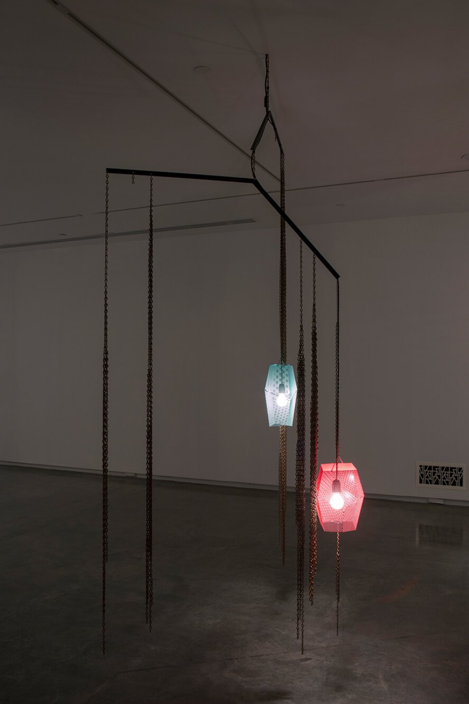 Martin Boyce, <em>untitled</em>, 2013, painted and rusted steel, electrical components, 288 × 117 × 116 cm - Mendes Wood DM